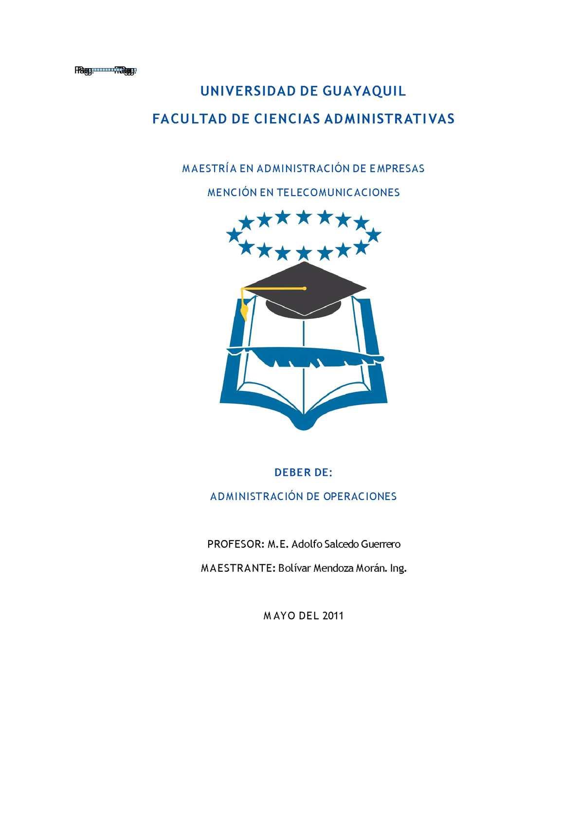 DEBER ADMINISTRACIÓN DE OPERACIONES SEP 2011---2
