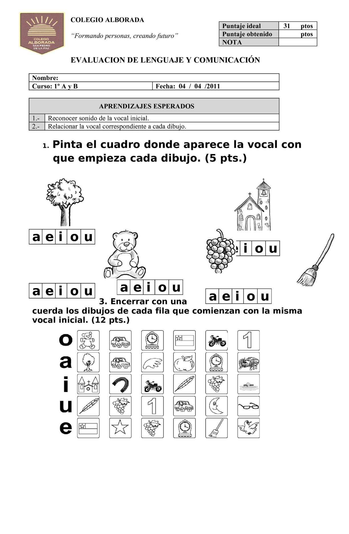 Calaméo 53641423 Prueba Las Vocales