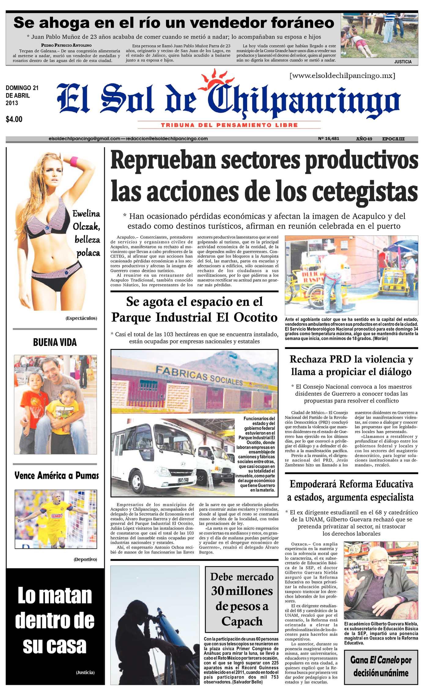 a0f25082d Calaméo - El Sol de Chilpancingo - 21 Abril 2013