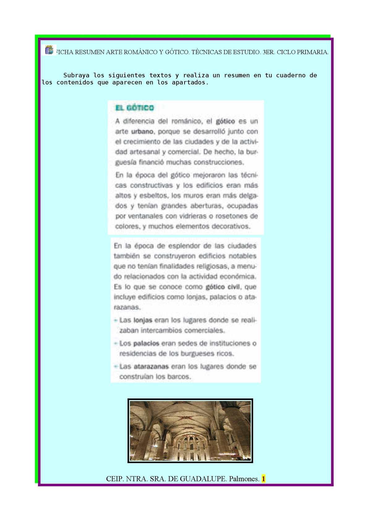 Calaméo Ficha Resumen Arte Románico Y Gótico Técnicas De Estudio Tercer Ciclo Primaria