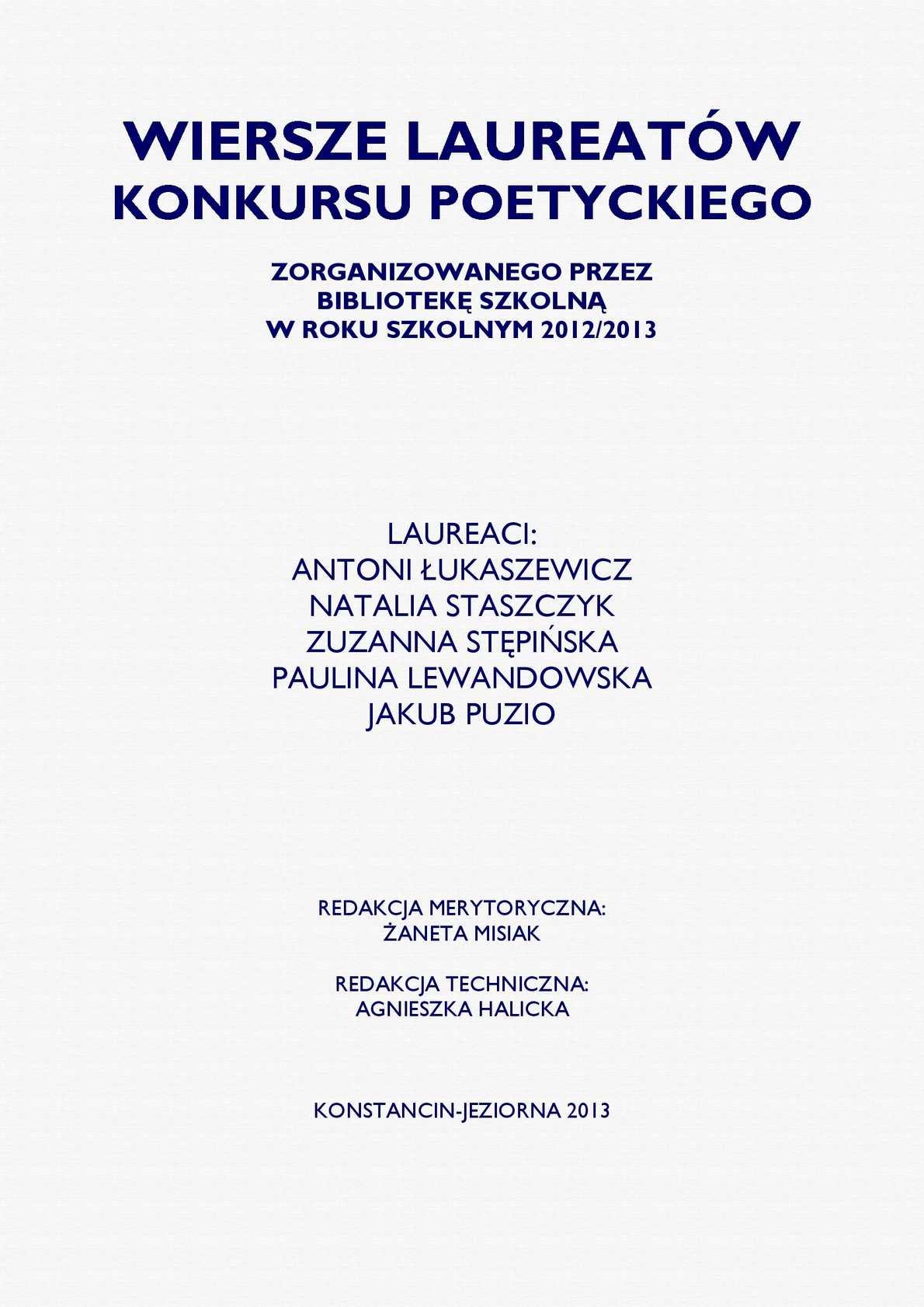 Calaméo Wiersze Laureatów Konkursu Poetyckiego