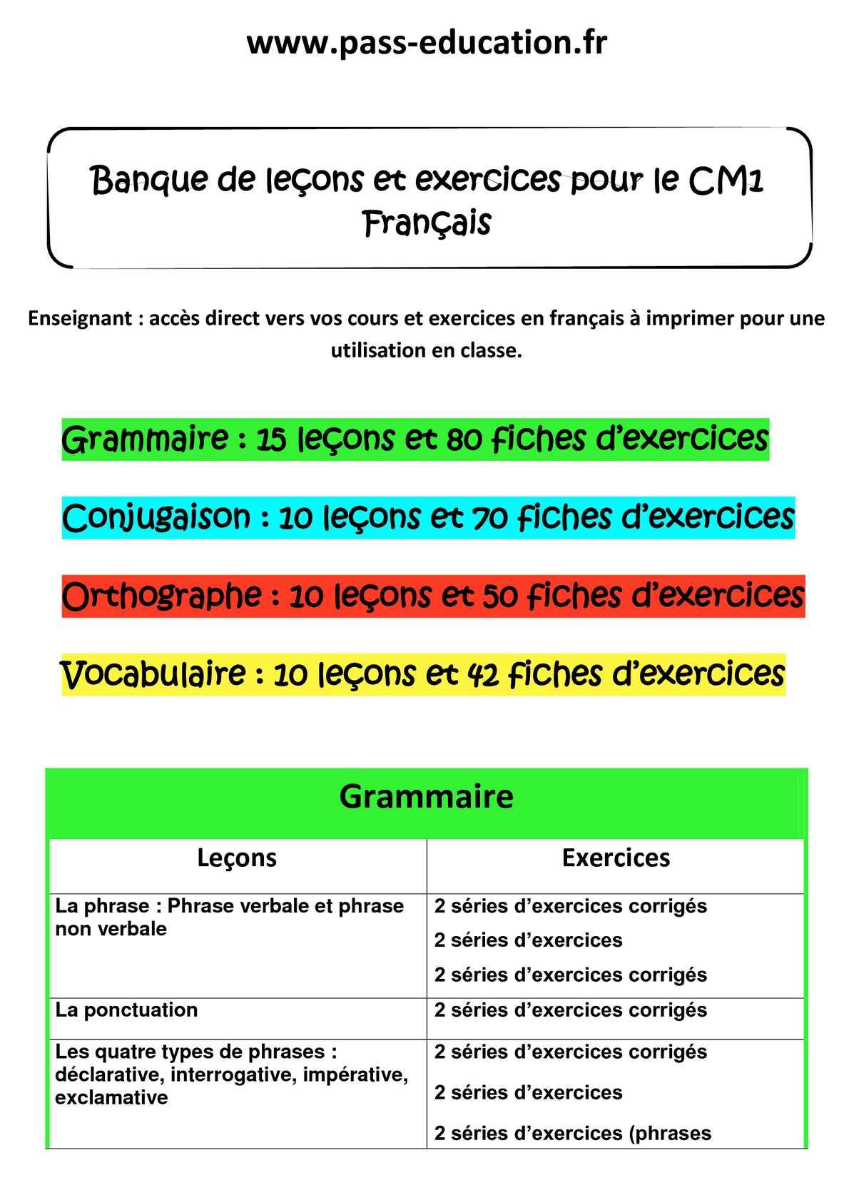 Calaméo - CM1 Français - Banque de leçons et exercices