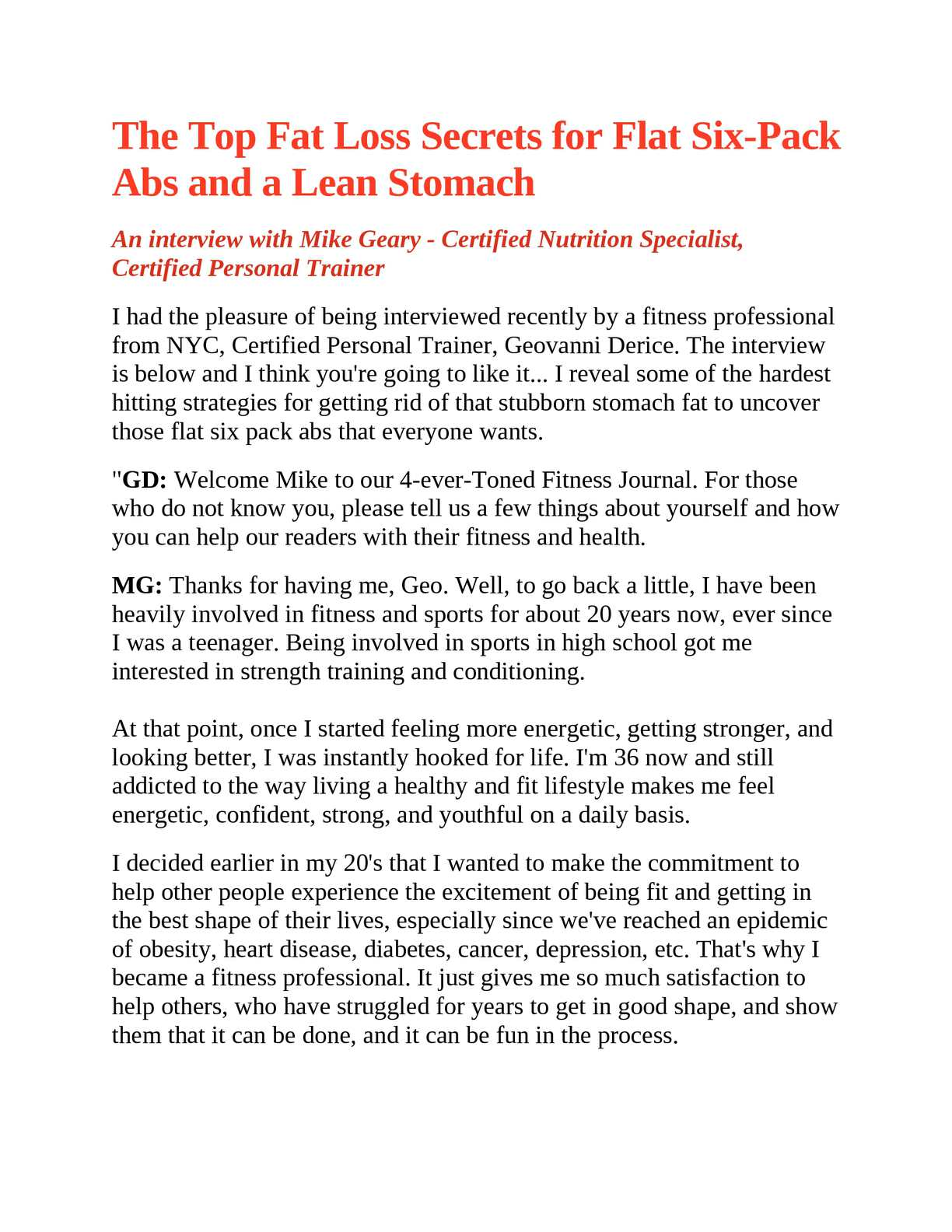 Calameo The Top Fat Loss Secrets For Flat Six Pack Abs And A Lean Stomach