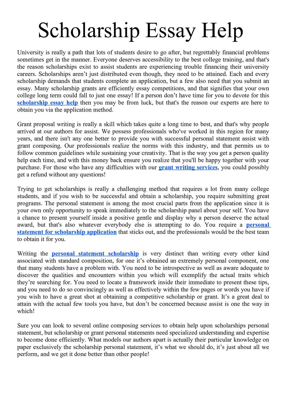 Essay personal scholarship