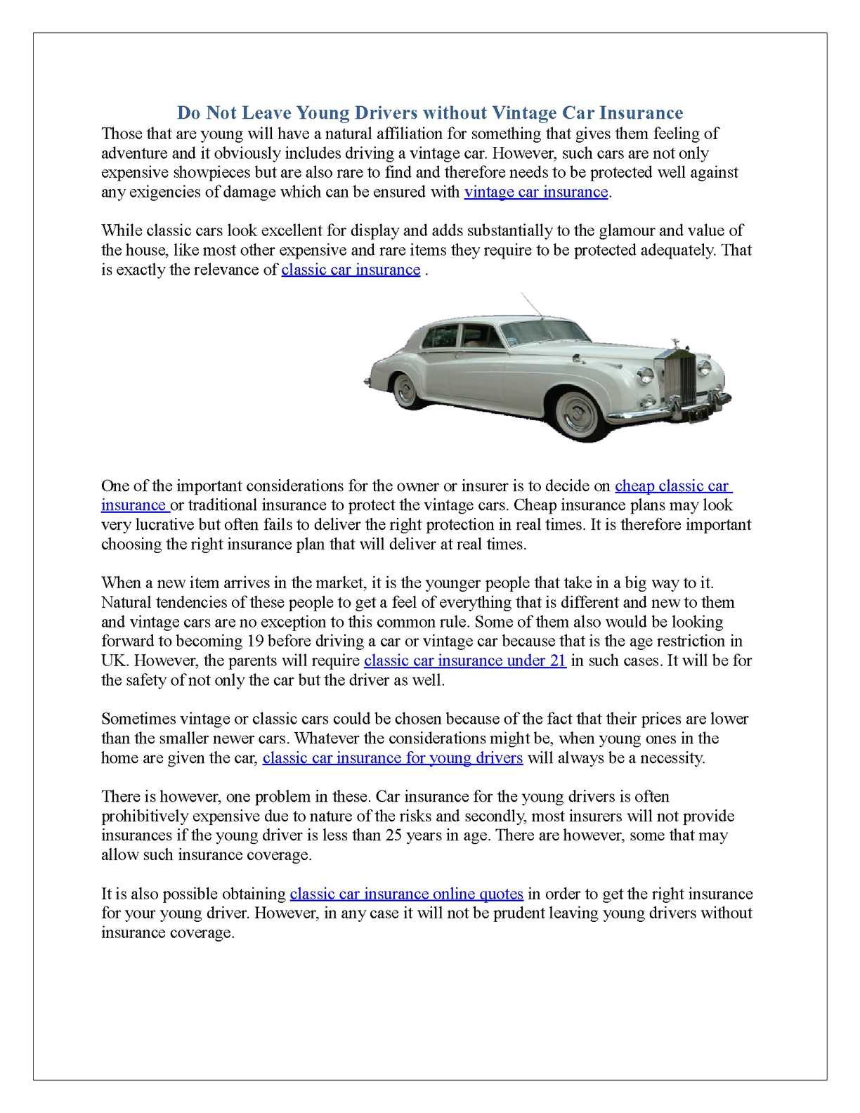 Calameo Do Not Leave Young Drivers Without Vintage Car Insurance