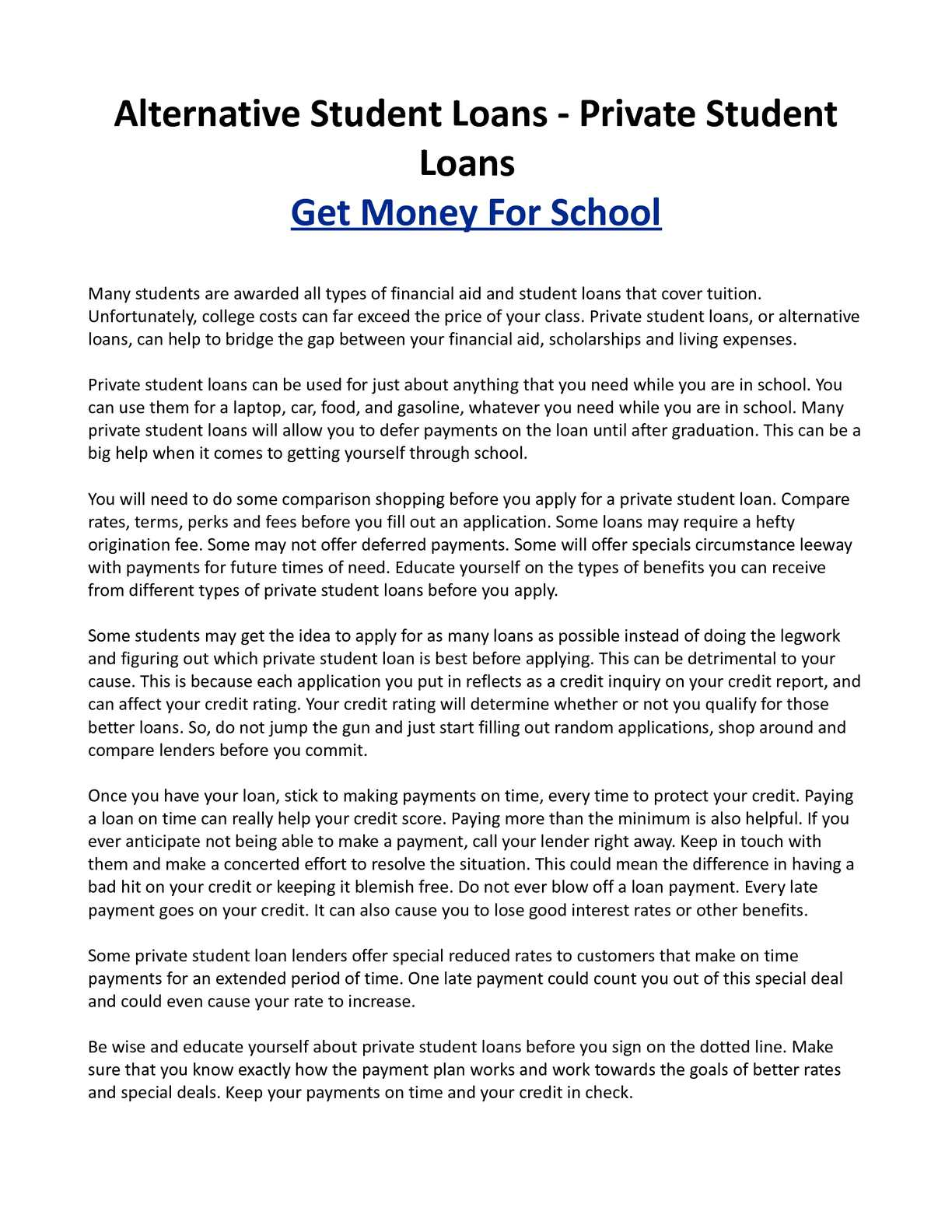 Calaméo - Alternative Student Loans - Private Student Loans