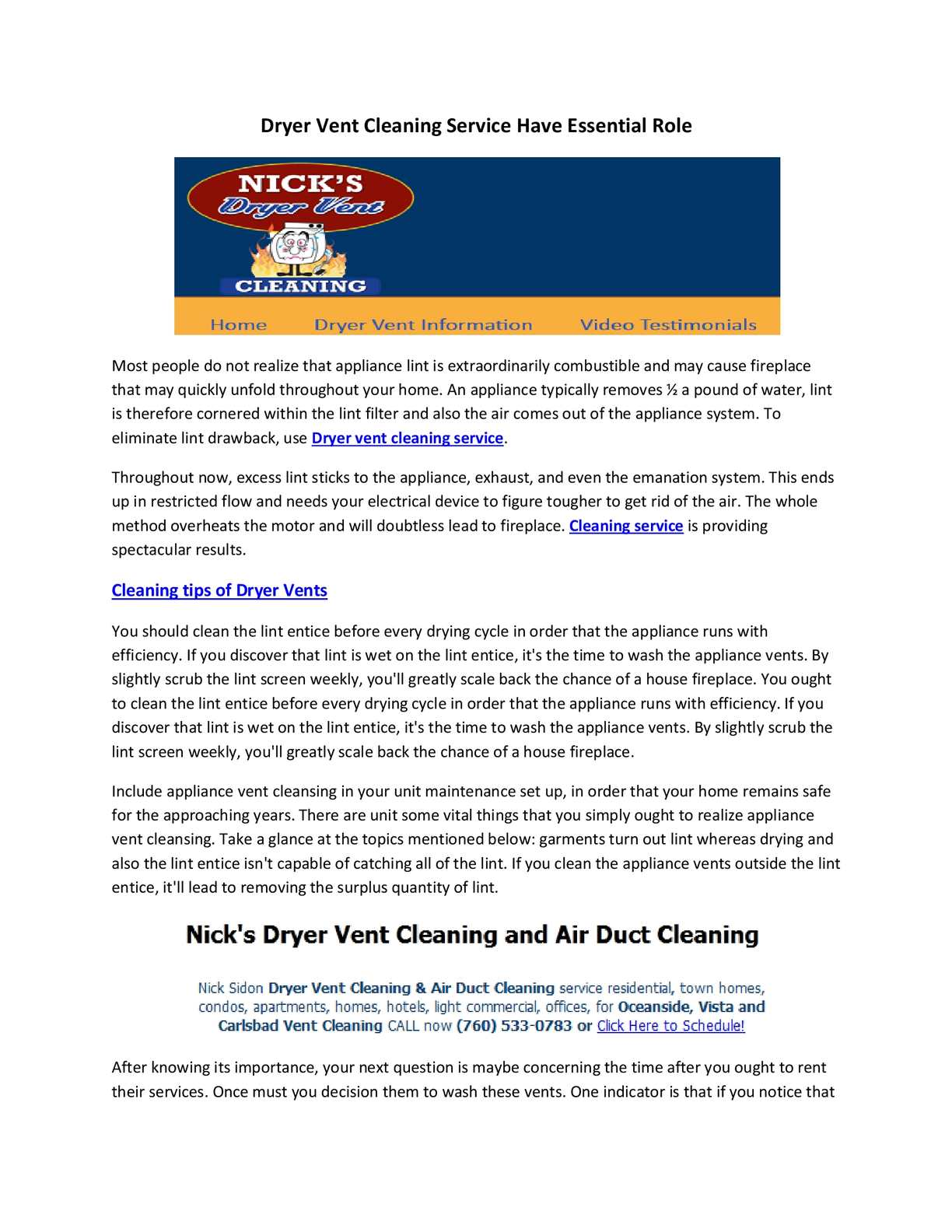 Calaméo   Dryer Vent Cleaning Service Have Essential Role