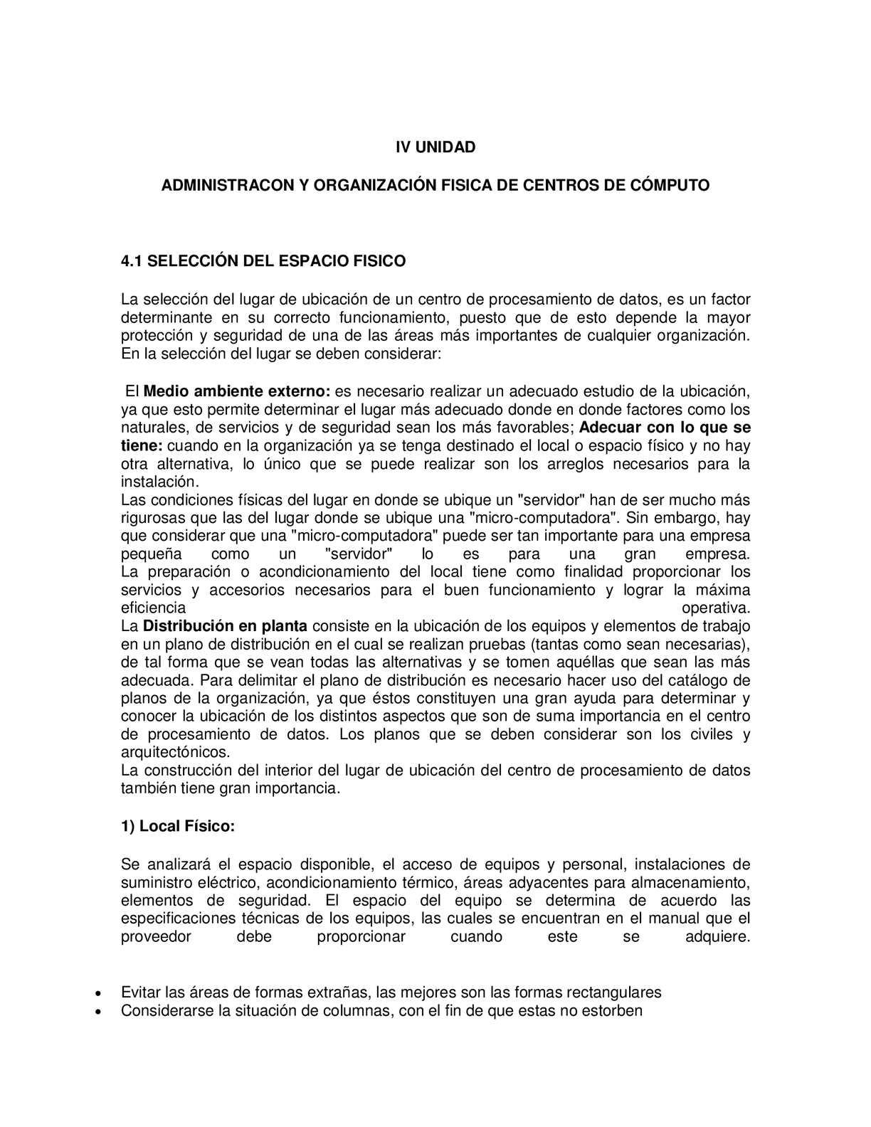 Administración y organización física de un centro de cómputo