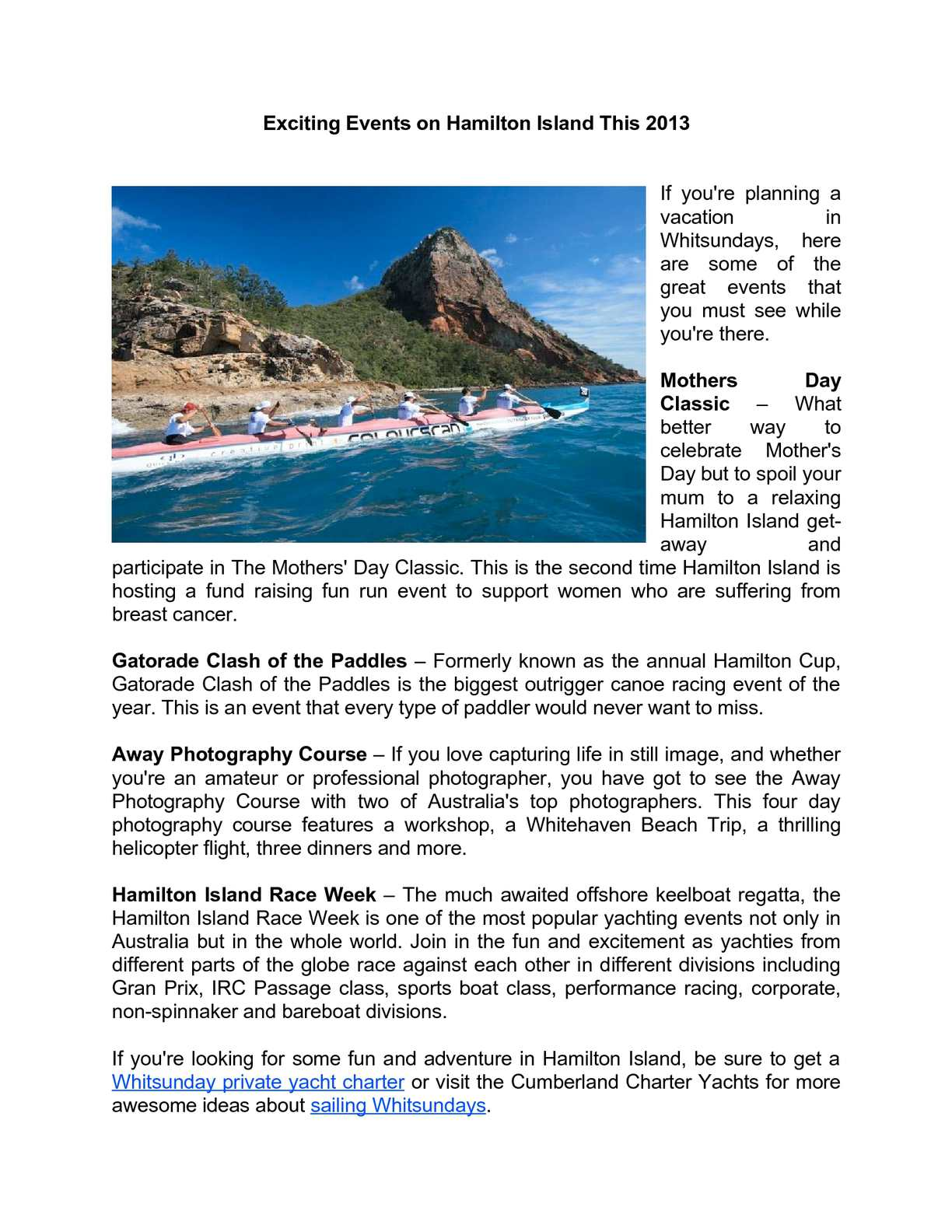 Calaméo - Exciting Events on Hamilton Island To Watch Out