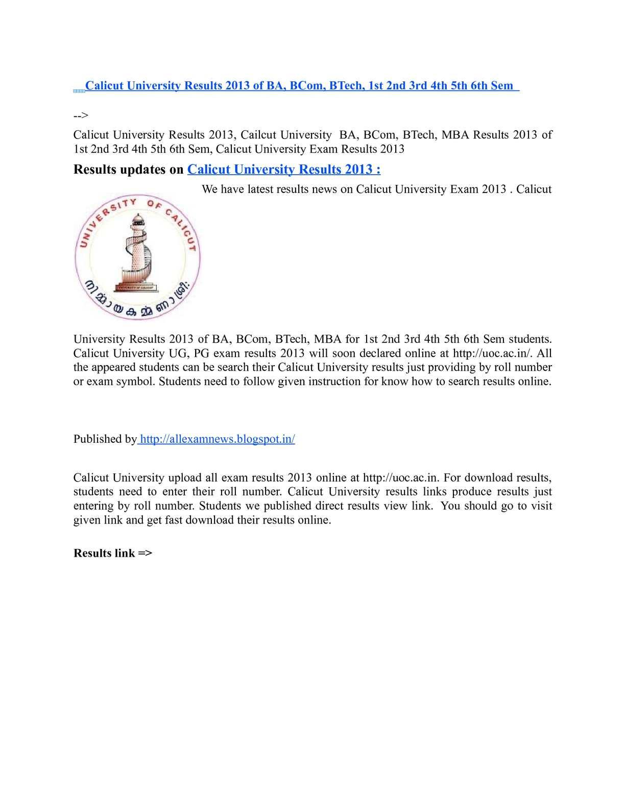 Calaméo - Calicut University Results 2013 of BA, BCom, BTech, 1st