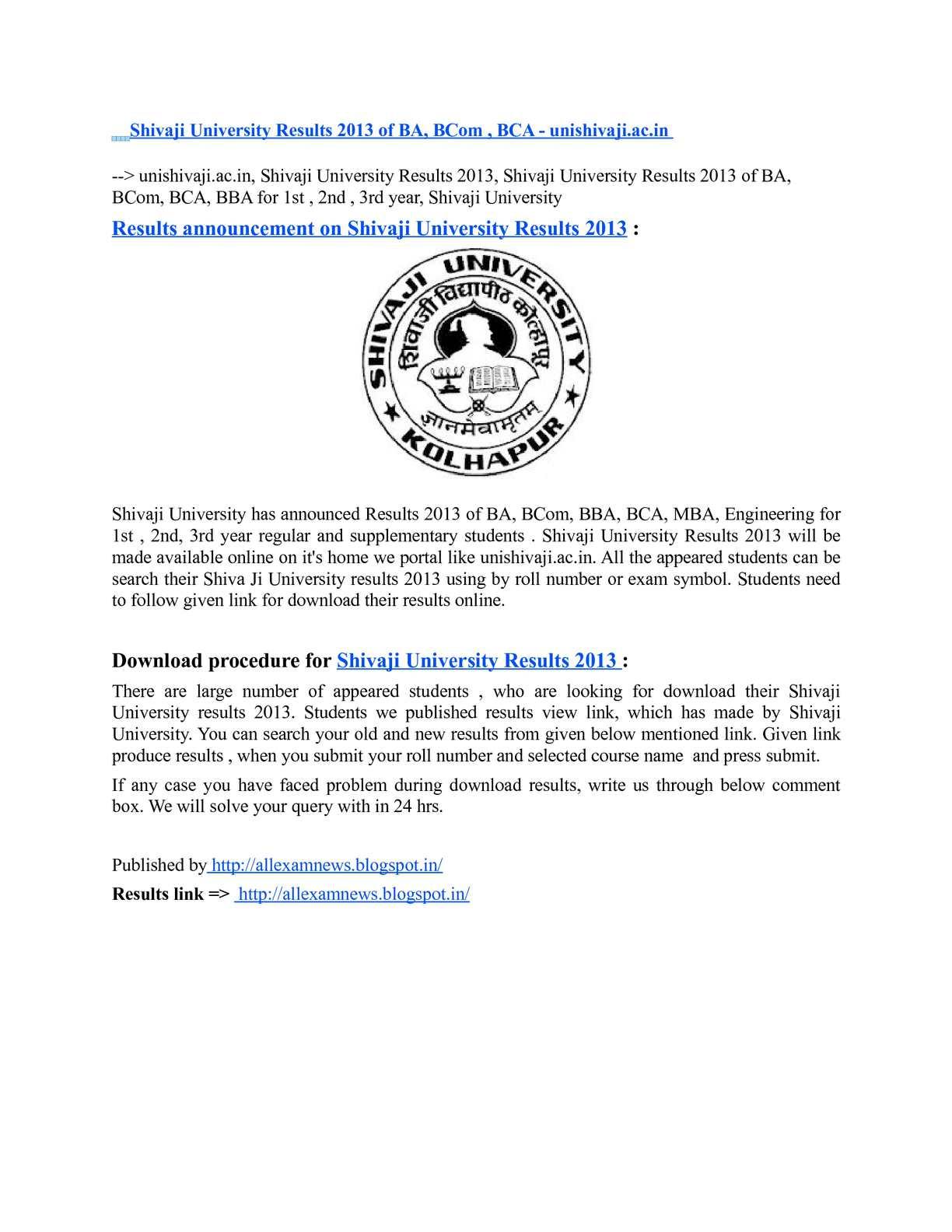 Calaméo - Shivaji University Results 2013 of BA, BCom , BCA