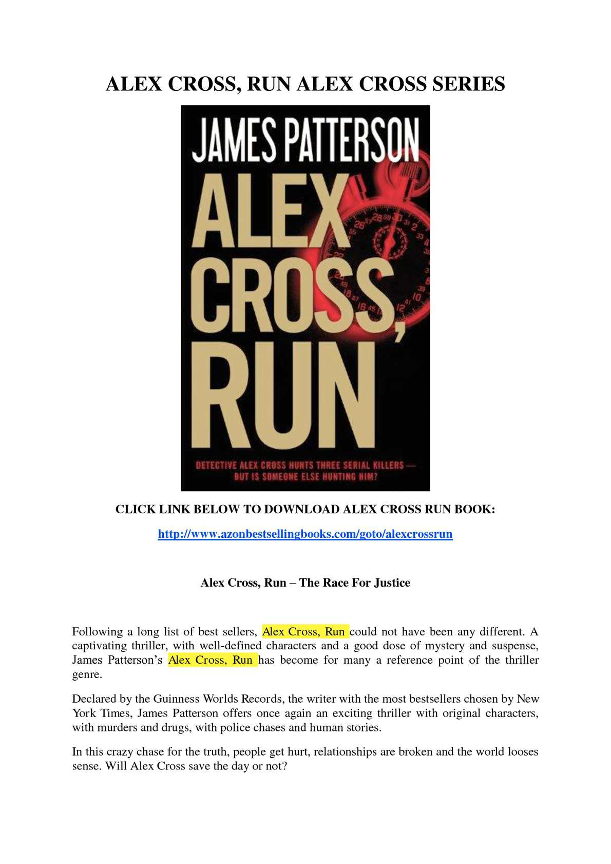 James Patterson Alex Cross Run Ebook
