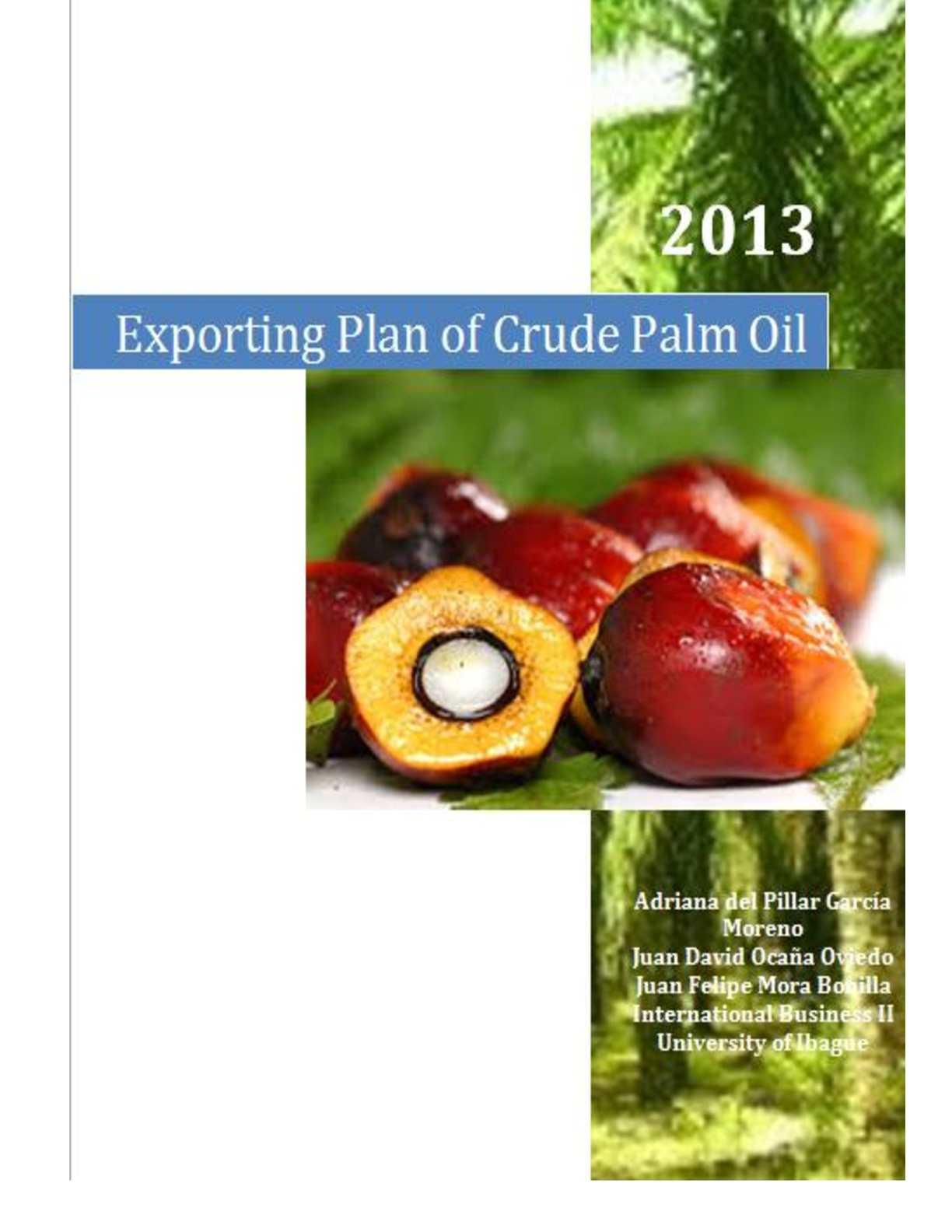 Calaméo - Exporting Plan of Crude Palm Oil