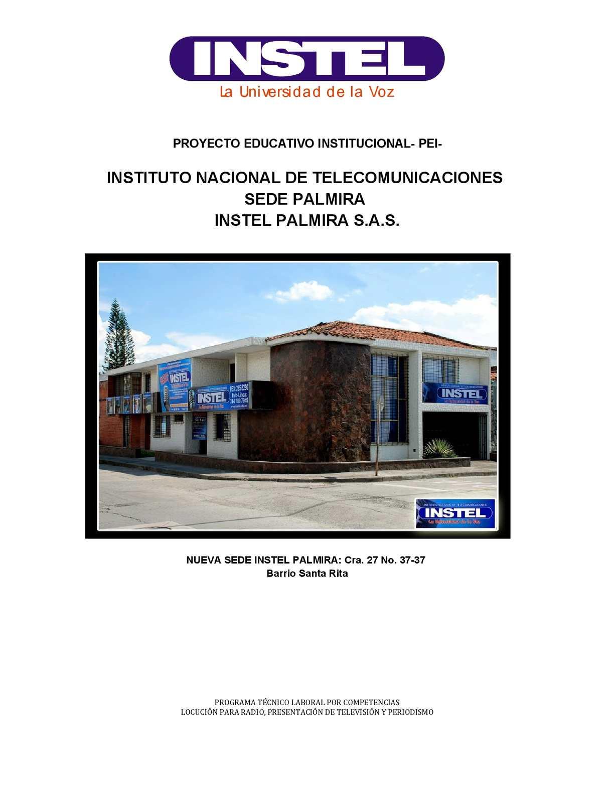 PROYECTO EDUCATIVO INSTITUCIONAL INSTEL PALMIRA