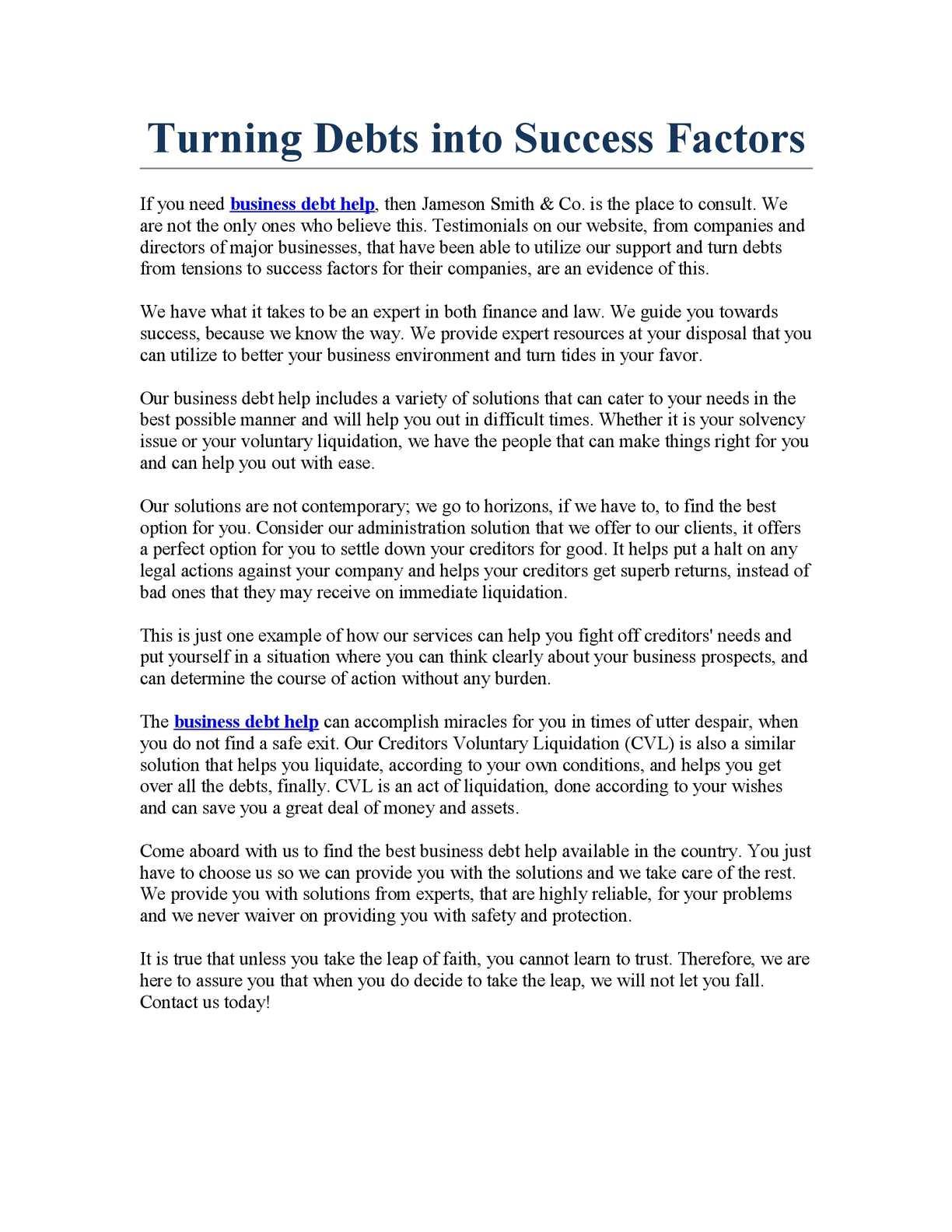 Calaméo - Turning Debts into Success Factors