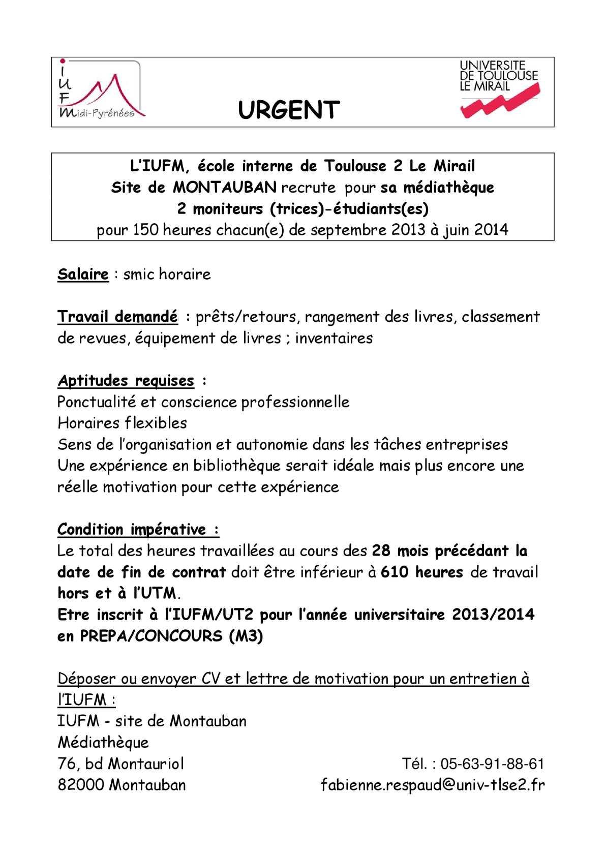 Calameo Recrutement Vacataire Mediatheque Iufm Montauban 2013
