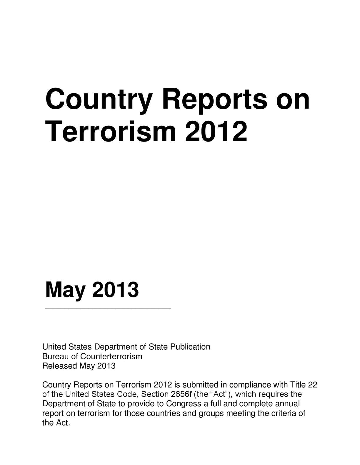 Calaméo - Country Reports on Terrorism 2012