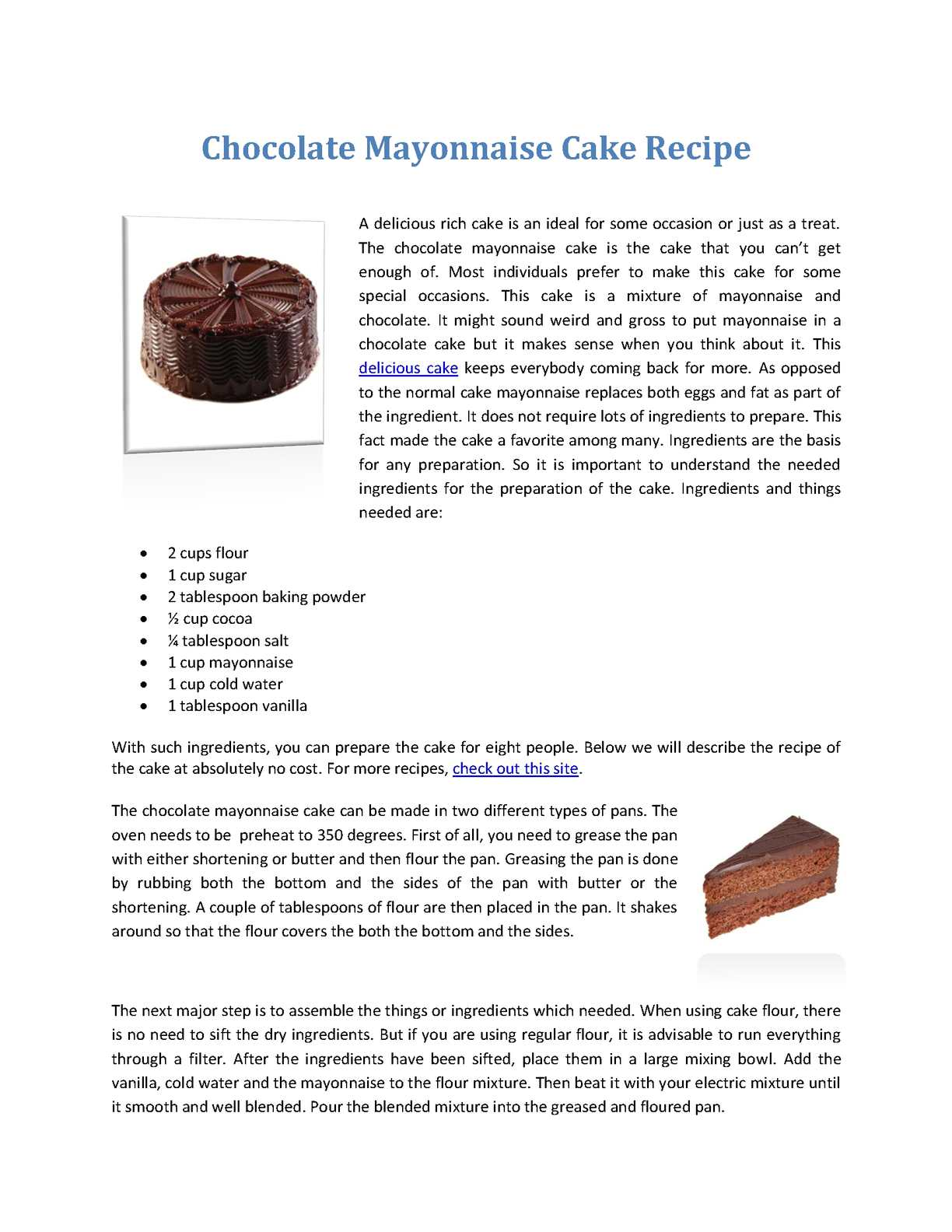 Calameo Chocolate Mayonnaise Cake Recipe