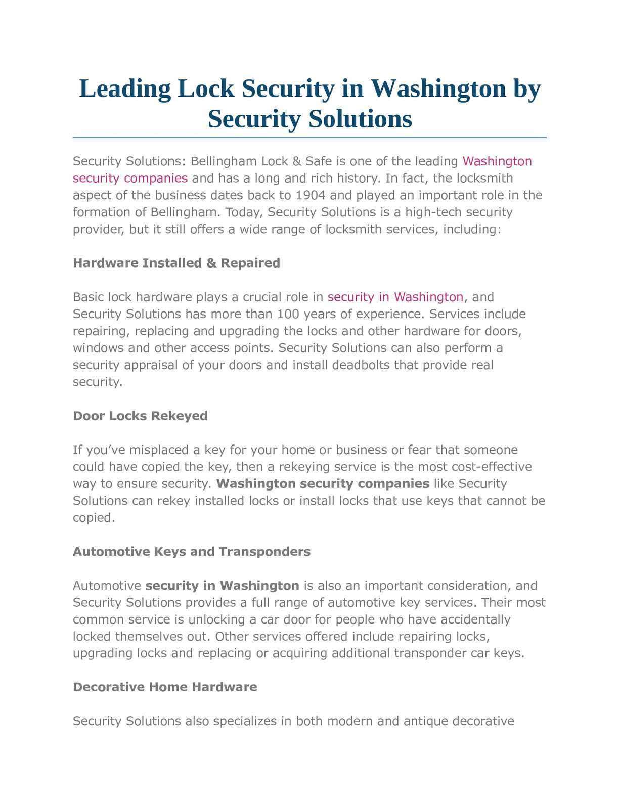 Calaméo - Leading Lock Security in Washington by Security