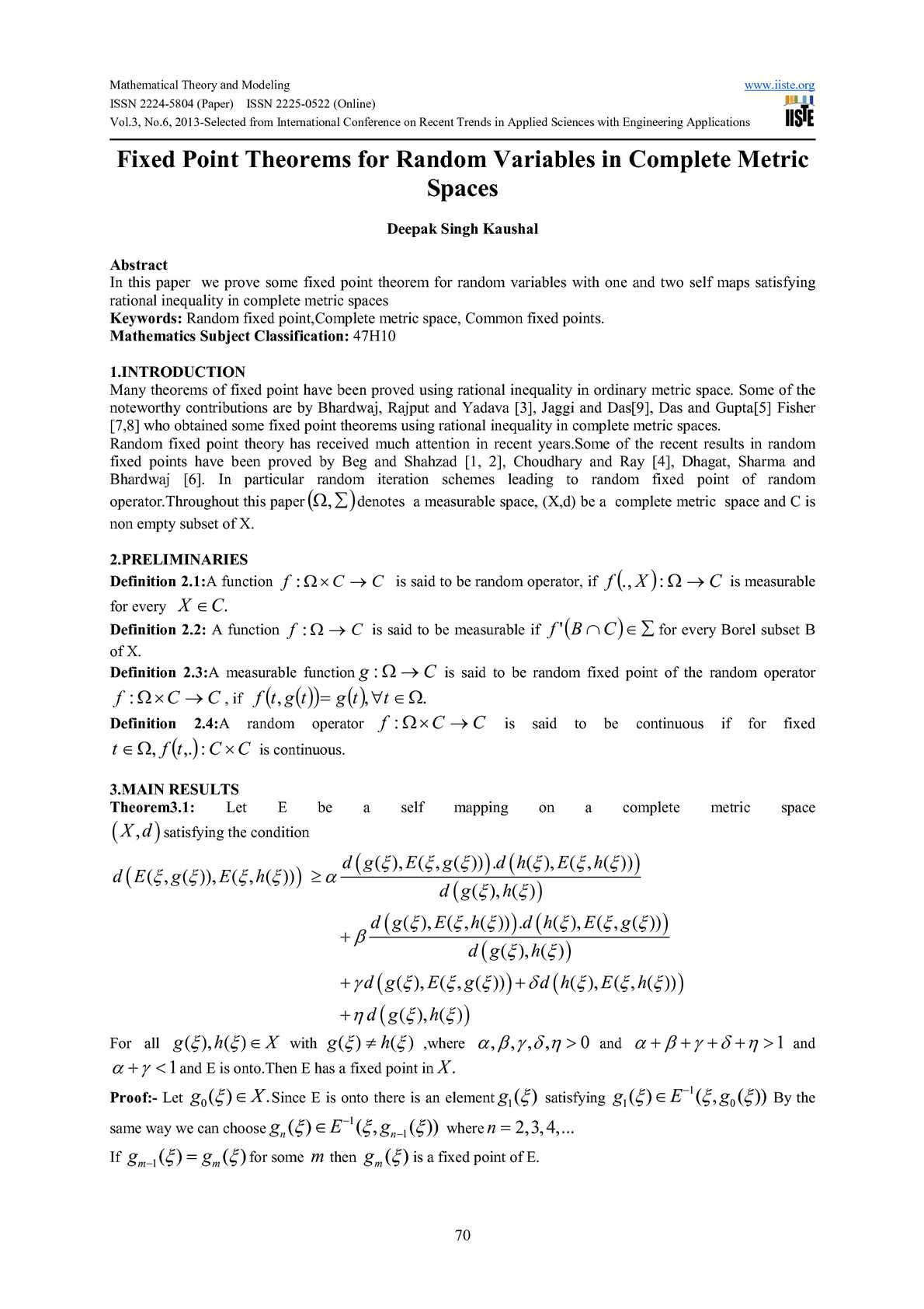 Calameo Fixed Point Theorems For Random Variables In Complete