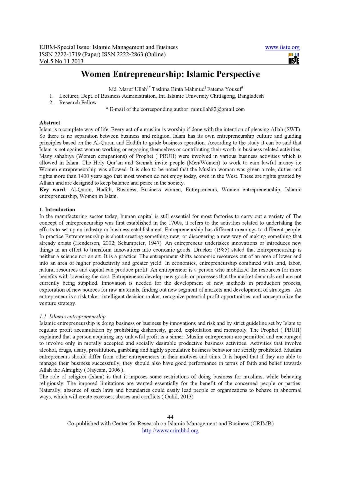 Research Proposal on Women Entrepreneurship