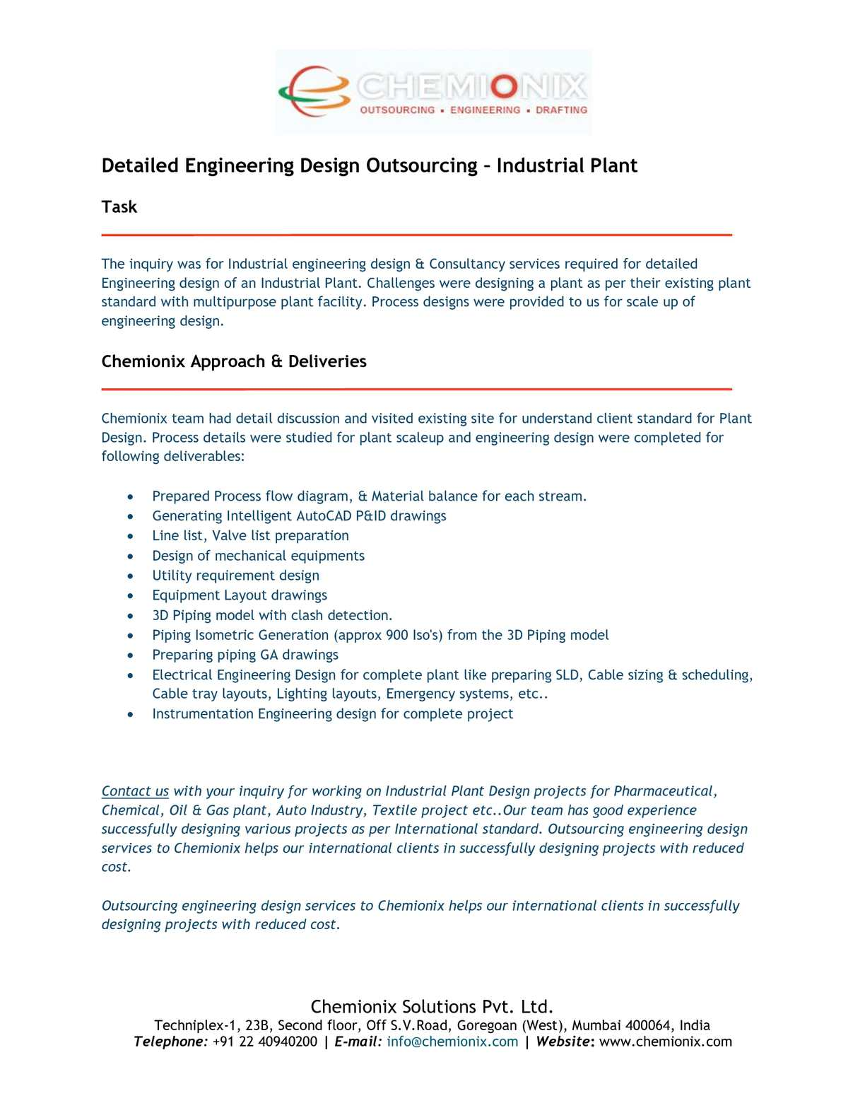 Calameo Detailed Engineering Design Outsourcing Industrial Plant
