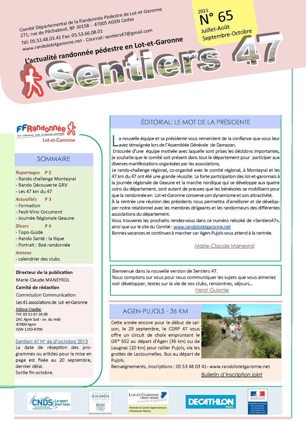Calendrier Randonnee Pedestre Lot Et Garonne.Calameo Sentiers 47 N 65