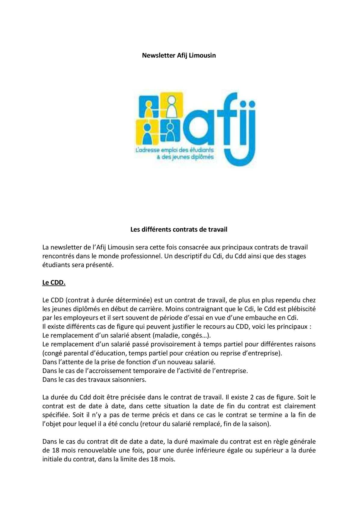Calameo Newsletter Afij Limousin Les Differents Contrats