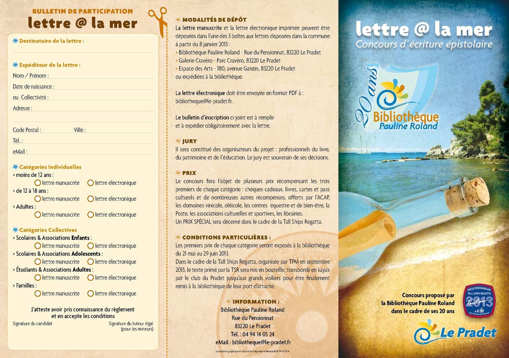 Calaméo Concours Lettre At La Mer Les Lettres Primées