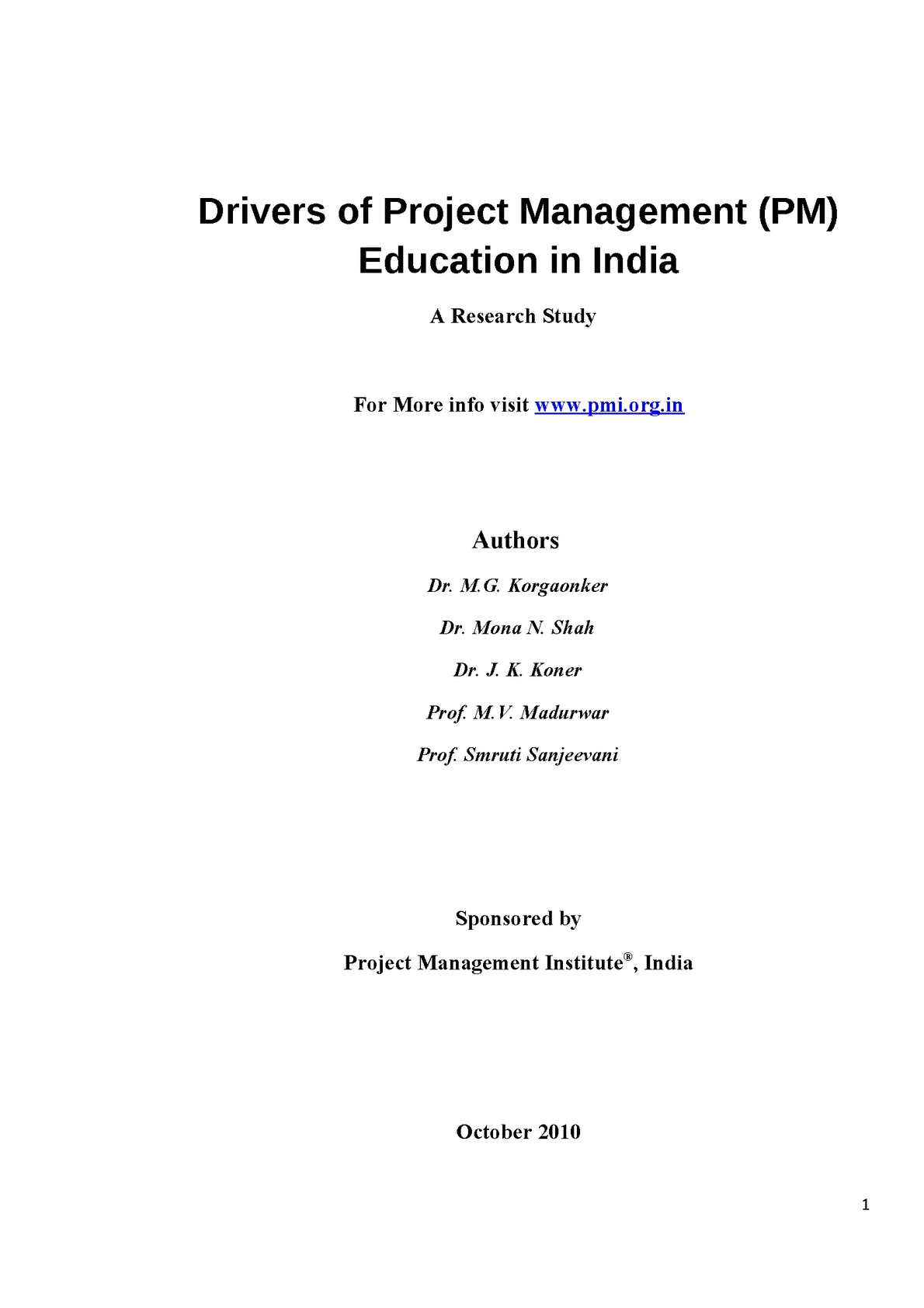 Calaméo - Drivers of Project Management (PM) Education in India - A