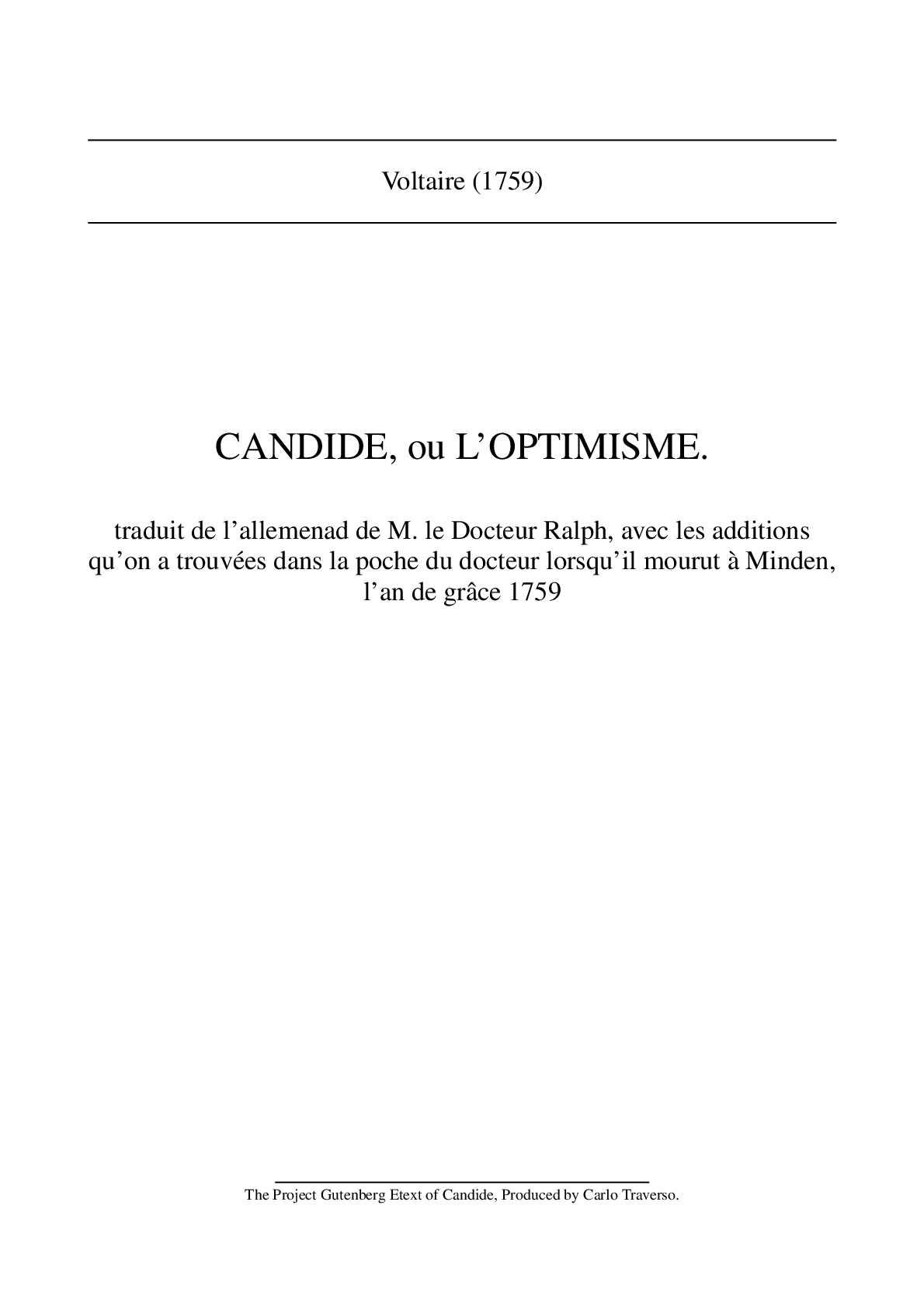 Calaméo Candide Voltaire