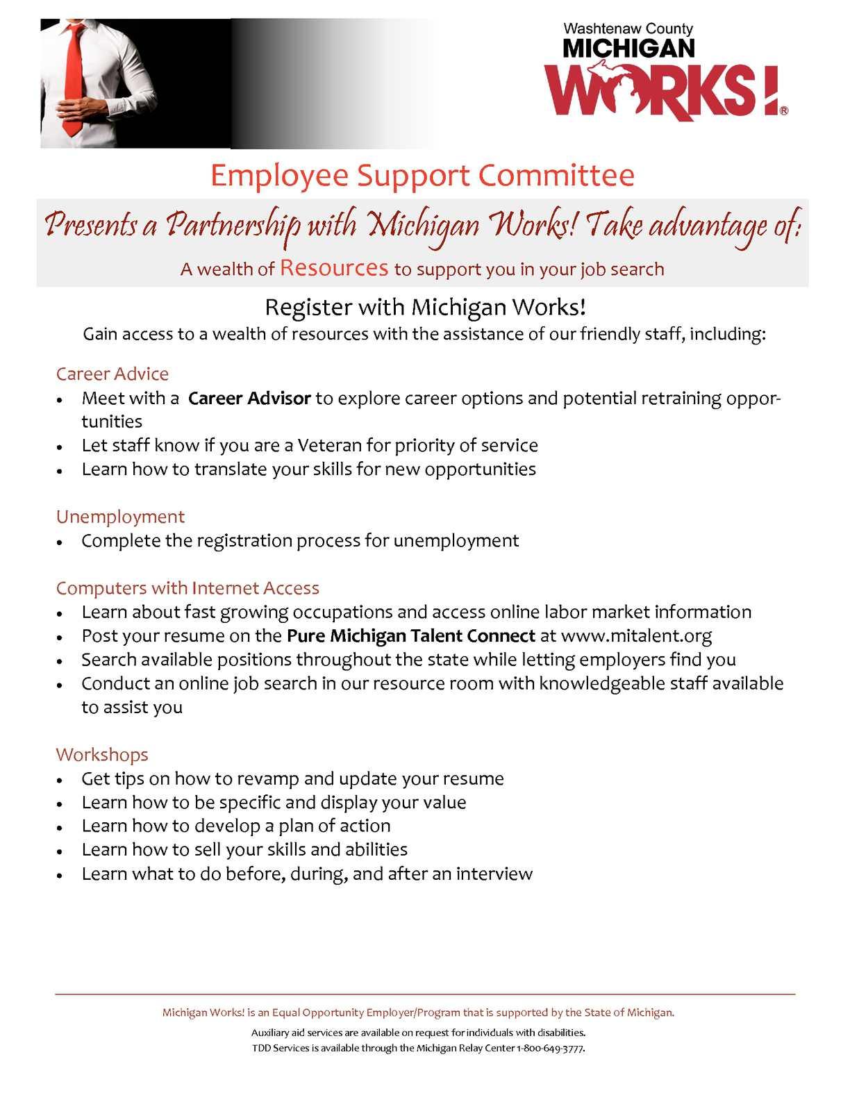Michigan Works Resume.Calameo Michigan Works Employee Support Committee