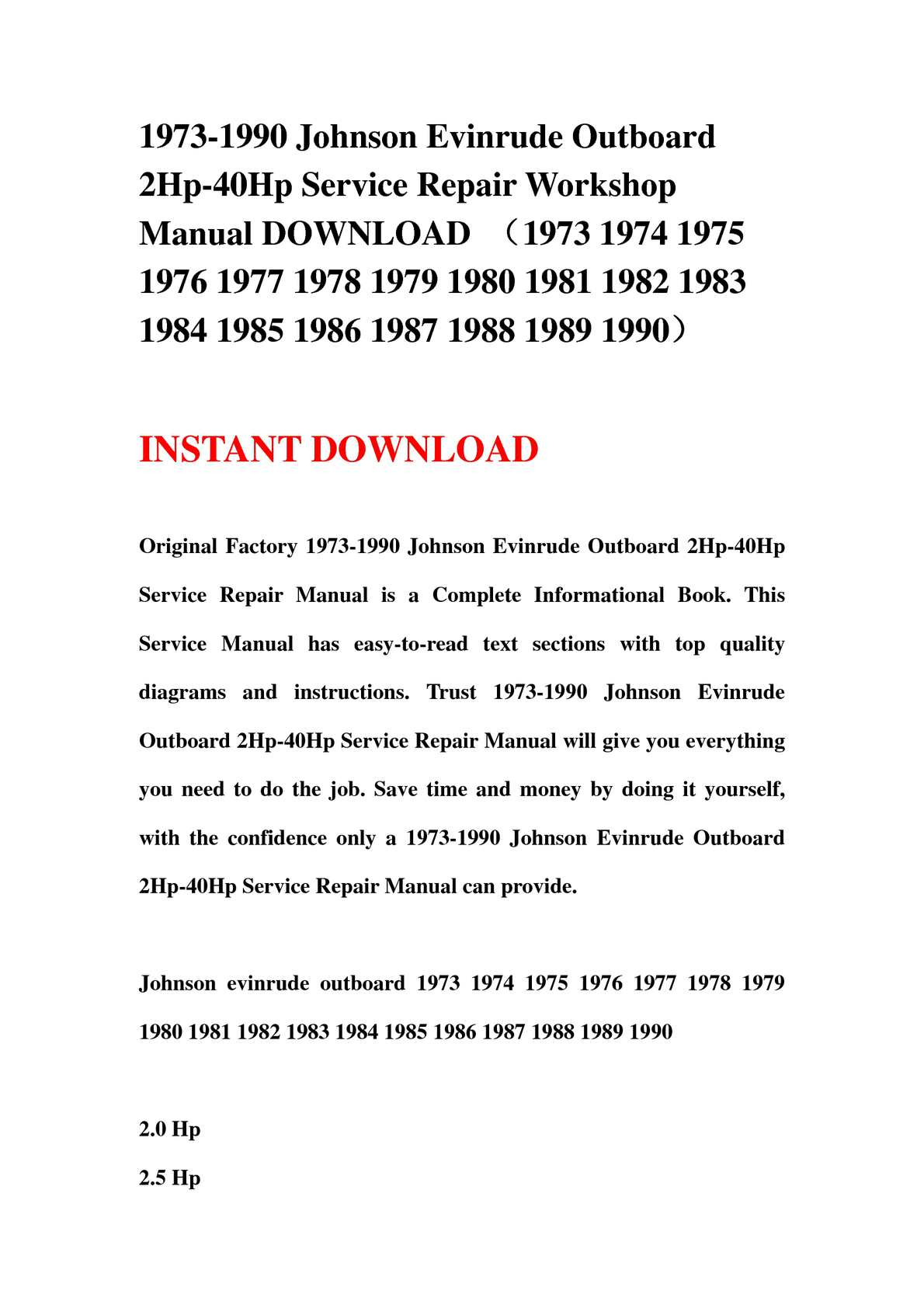 Calaméo - 1973-1990 Johnson Evinrude Outboard 2Hp-40Hp Service Repair  Workshop Manual DOWNLOAD (1973 1974 1975 1976 1977 1978 1979 1980 1981 1982  1983 1984 ...
