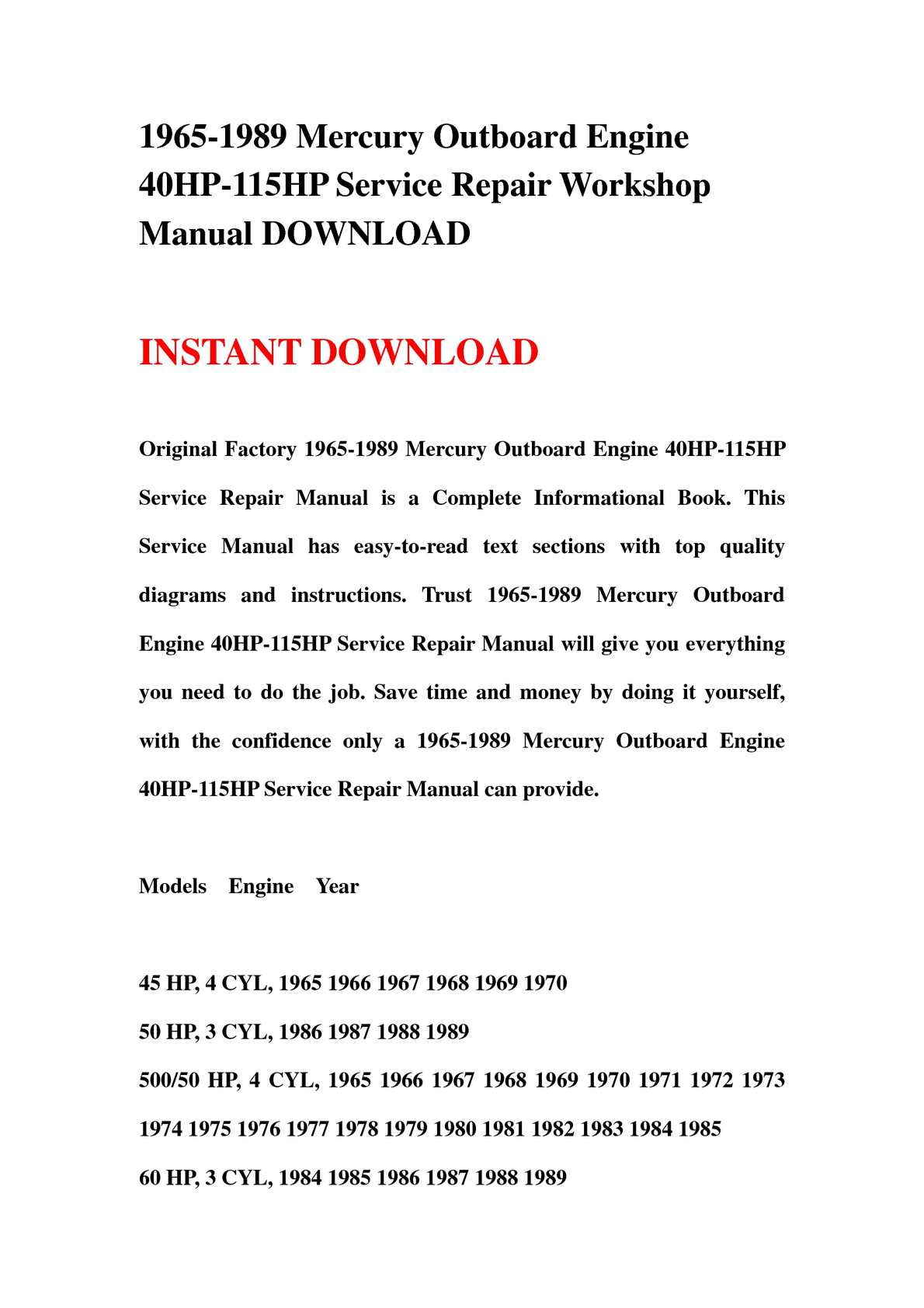 Calaméo - 1965-1989 Mercury Outboard Engine 40HP-115HP Service Repair  Workshop Manual DOWNLOAD