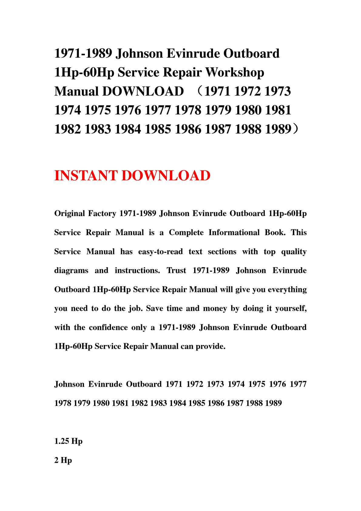 Calaméo - 1971-1989 Johnson Evinrude Outboard 1Hp-60Hp Service Repair  Workshop Manual DOWNLOAD (1971 1972 1973 1974 1975 1976 1977 1978 1979 1980  1981 1982 ...