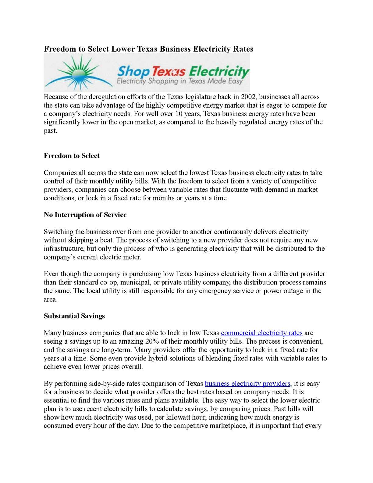 Calaméo - Freedom to Select Lower Texas Business Electricity Rates