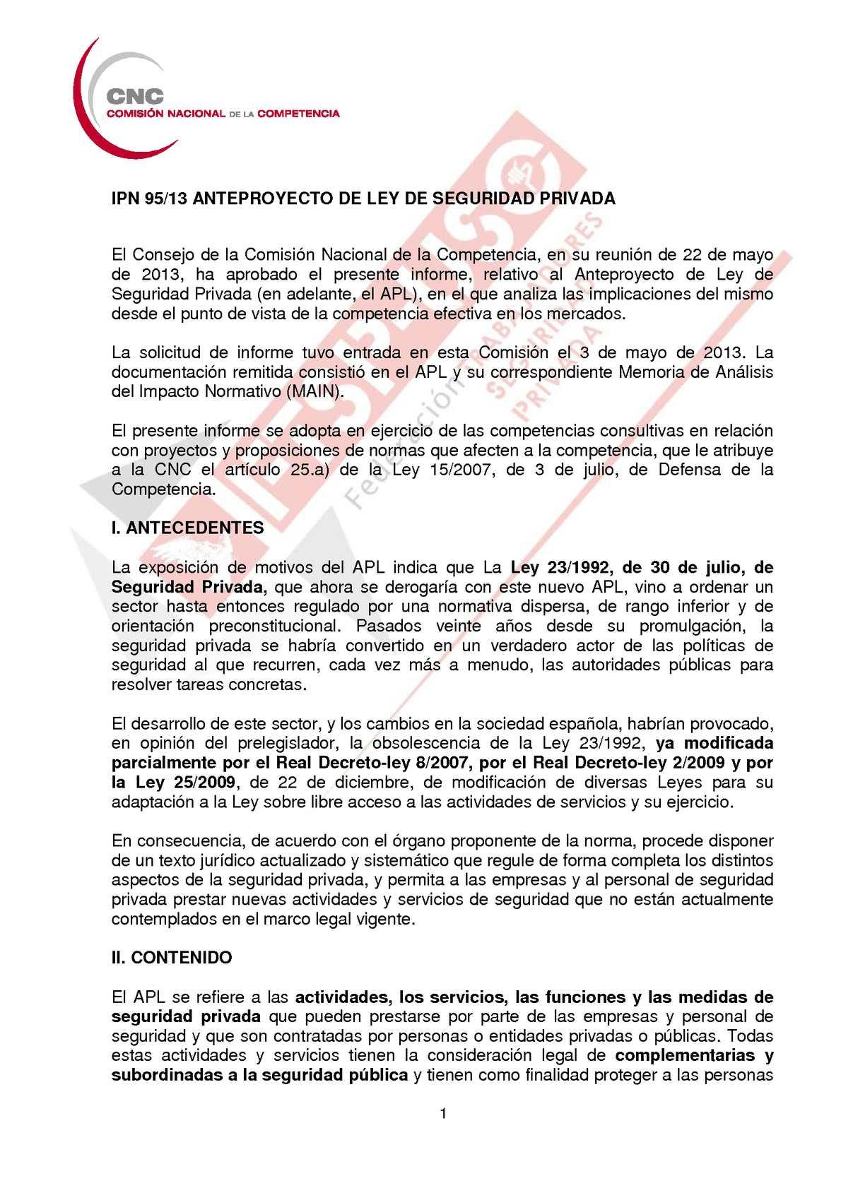 Calaméo Informe Cnc Anteproyecto Ley Seguridad