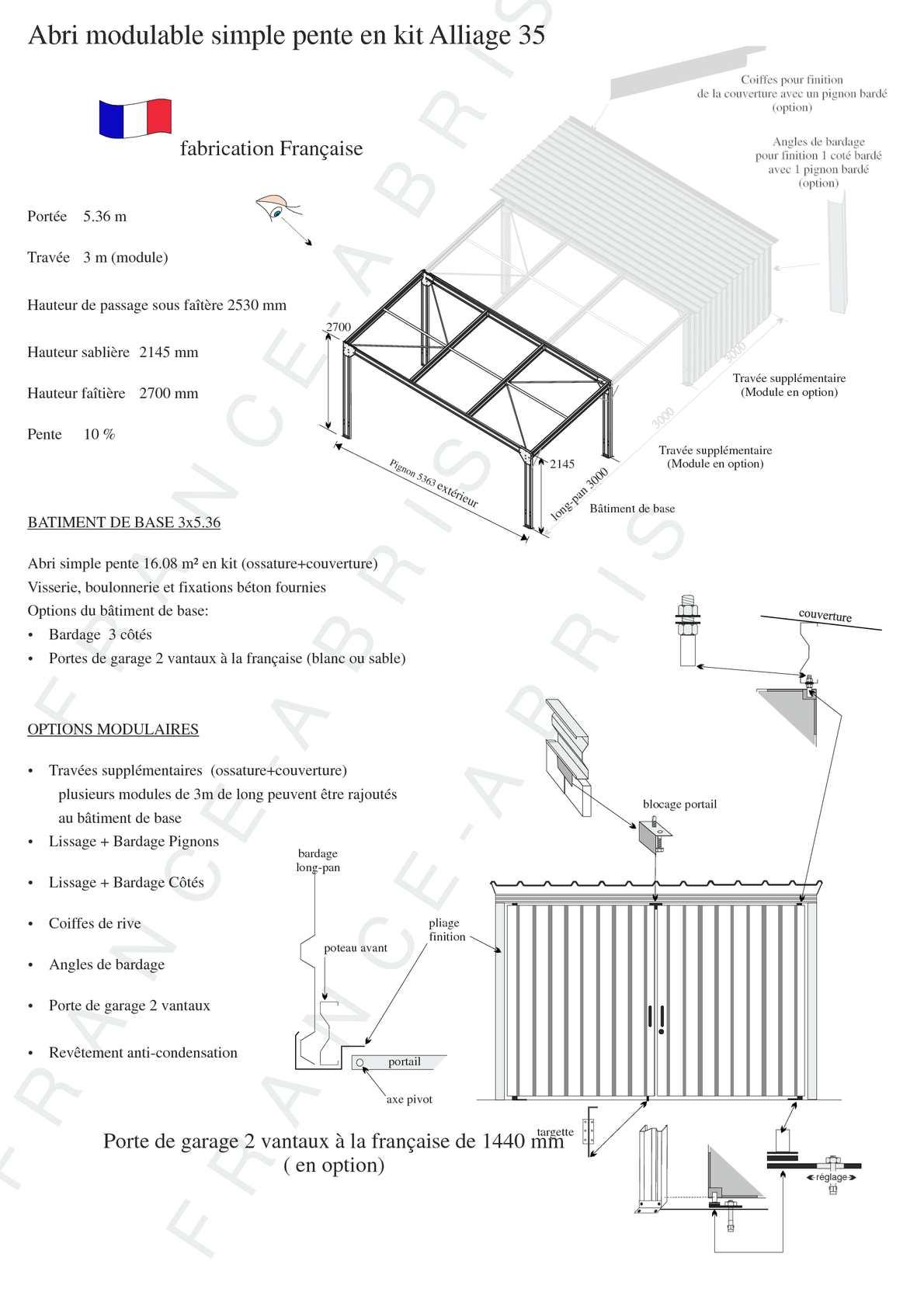 calam o hangar m tallique abri metal simple pente. Black Bedroom Furniture Sets. Home Design Ideas