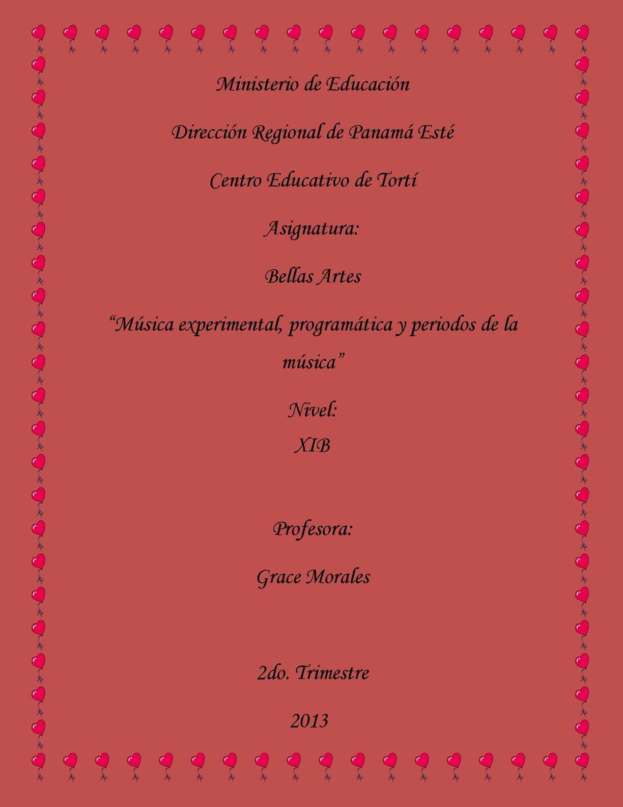 """taller # 2 bellas artes(""""Música experimental, programática y periodos de la música"""")"""
