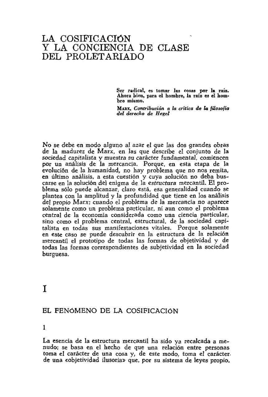Calaméo Lukacs Georg Historia Y Conciencia De Clase