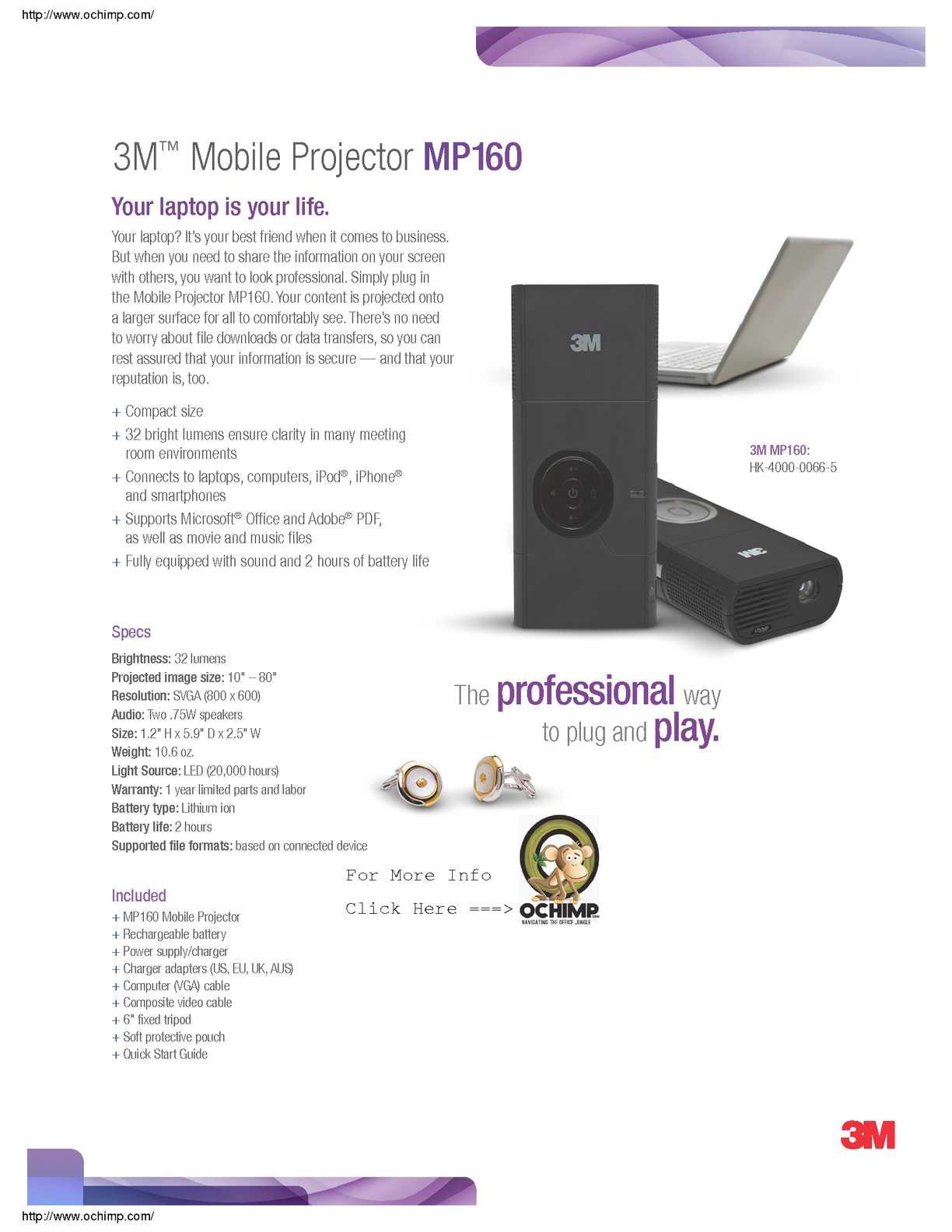 Calaméo - 3M MP160 Pocket Projector, 800 x 600 pixels, 32
