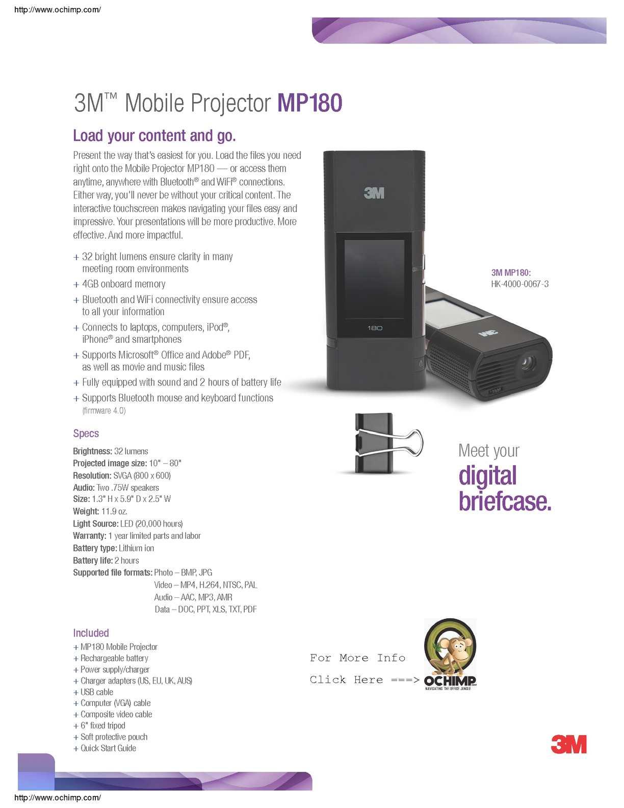 Calaméo - 3M MP180 Pocket Projector, 800 x 600 pixels, 32