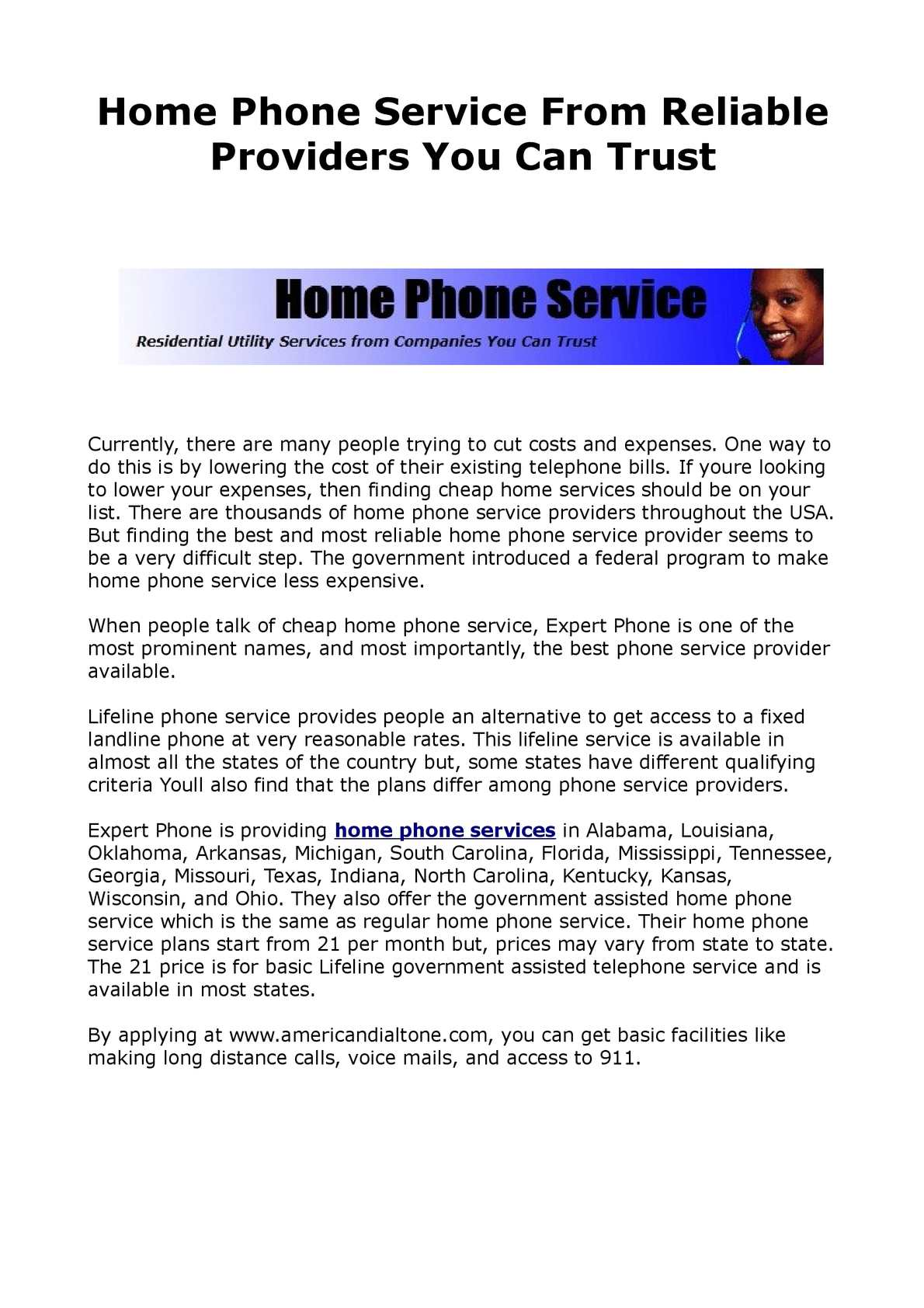 Landline Phone Service >> Calameo Reliable Home Phone Service Provider