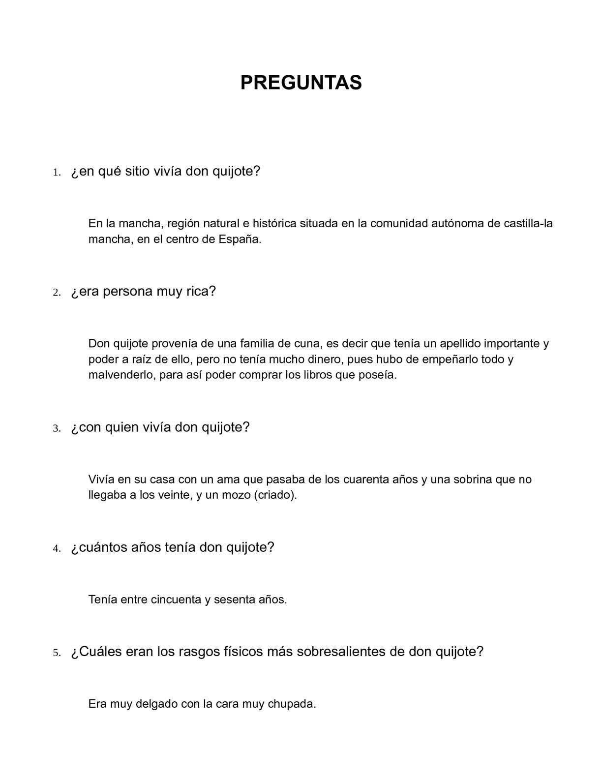 Calaméo - preguntas sobre don quijote de la mancha