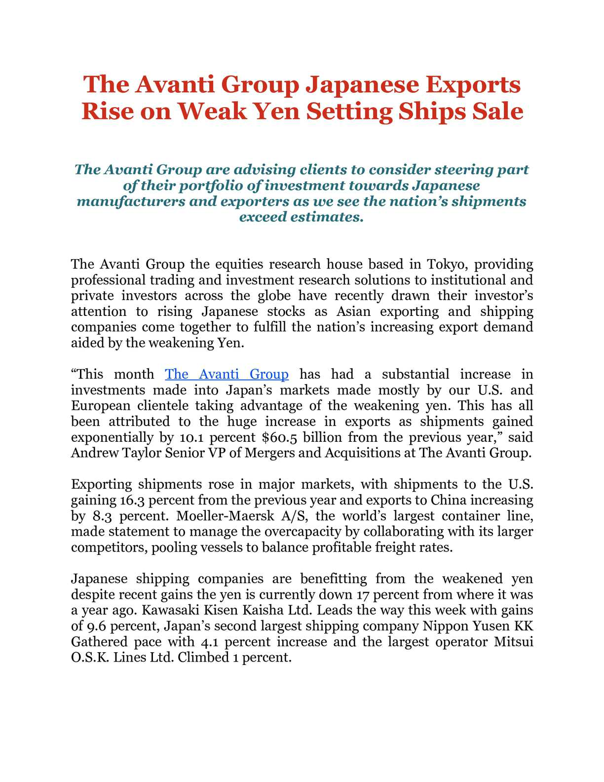 Calaméo - The Avanti Group Japanese Exports Rise on Weak Yen
