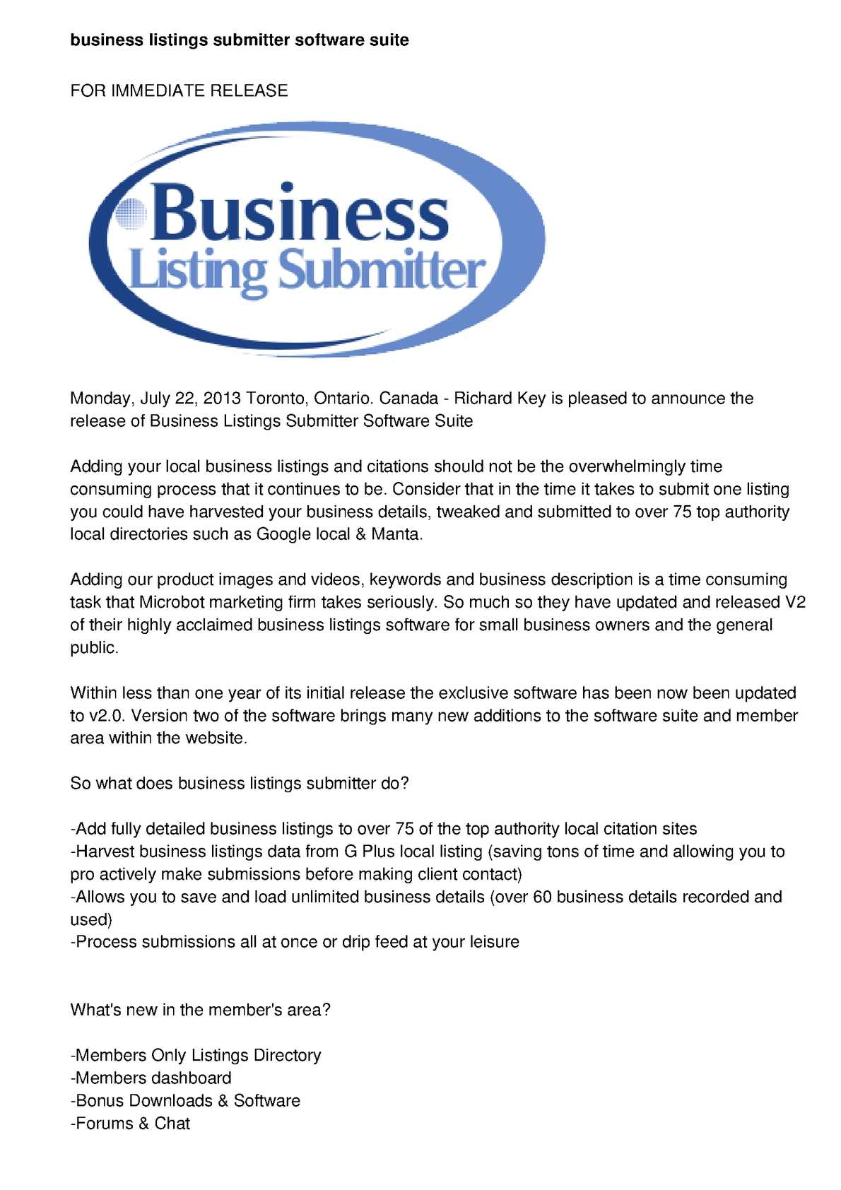 Calaméo - Business Listings Submitter Software Suite Rolls Out