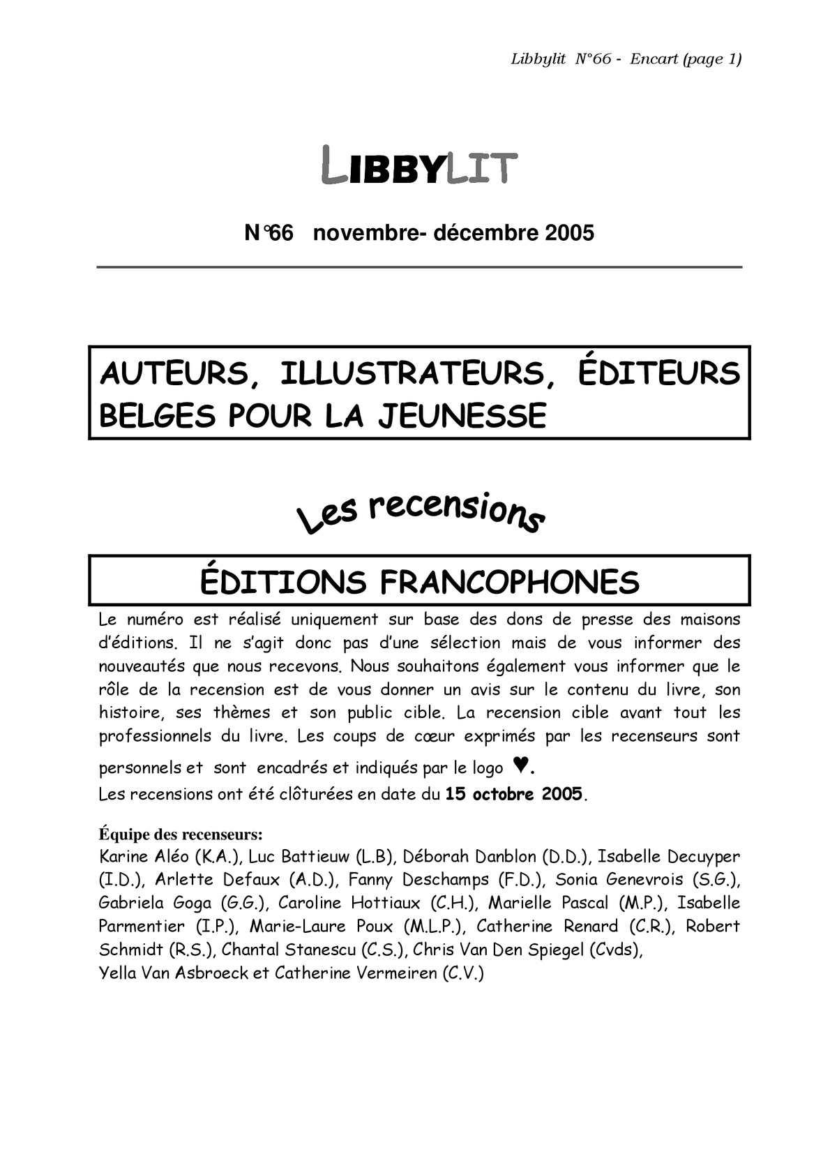 Calaméo Libbylit N 66 Novembre Décembre 2005