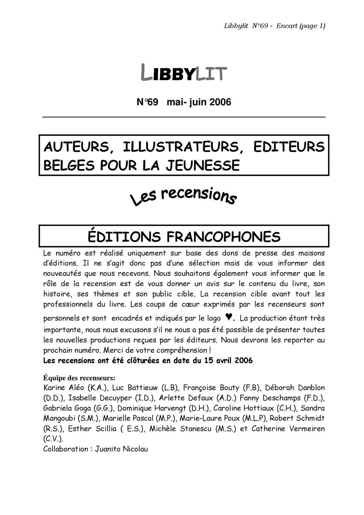 Calaméo Libbylit N 69 Mai Juin 2006