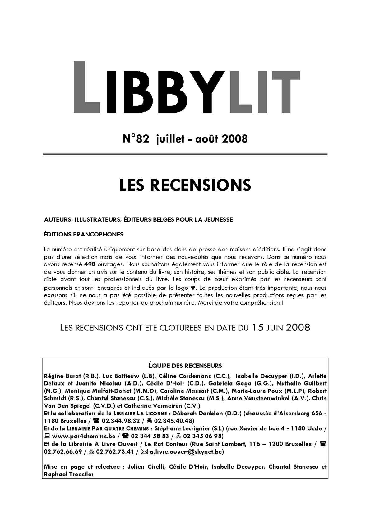 Calaméo Libbylit N 82 Juillet Août 2008