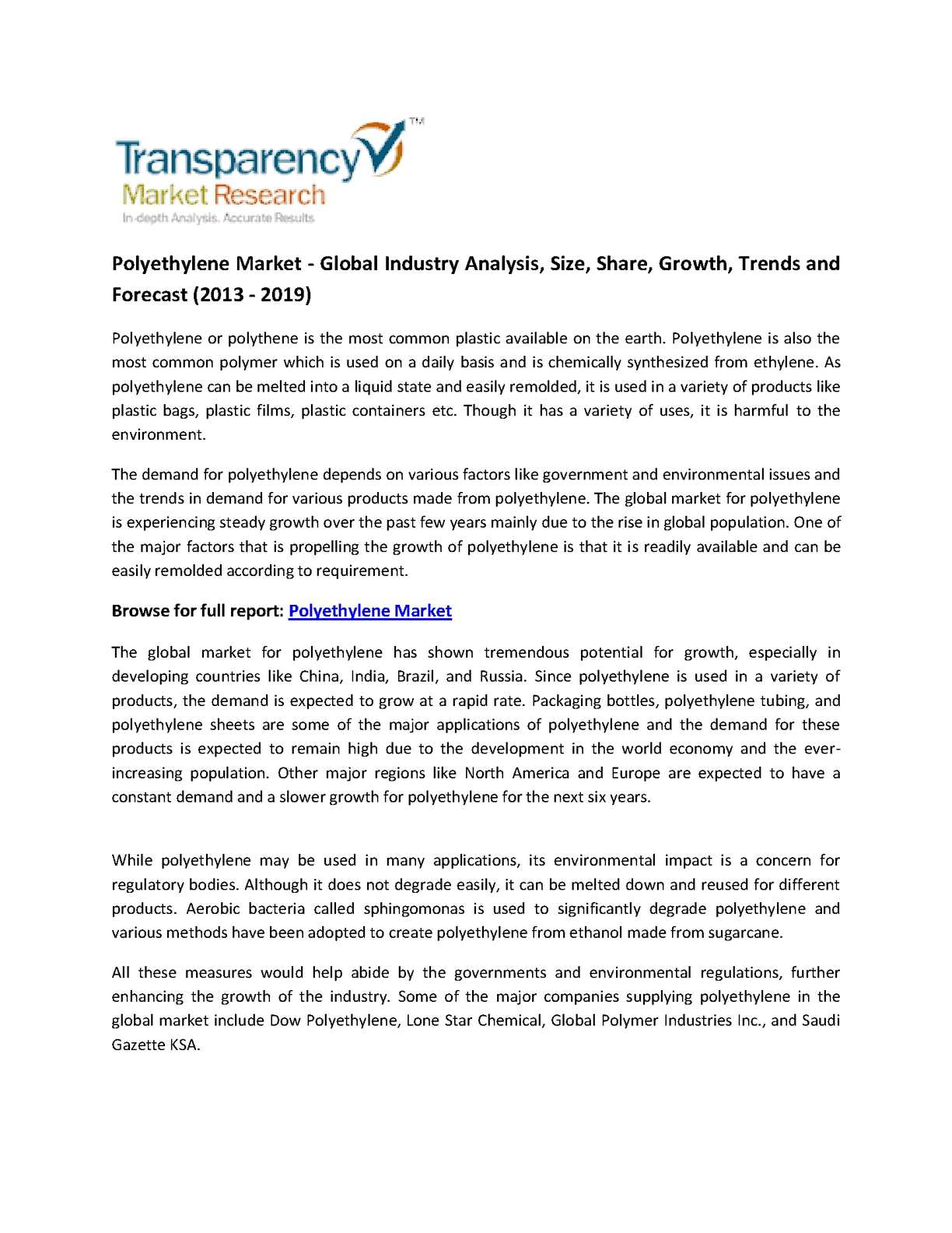 Calaméo - Global Polyethylene Market - Industry Analysis